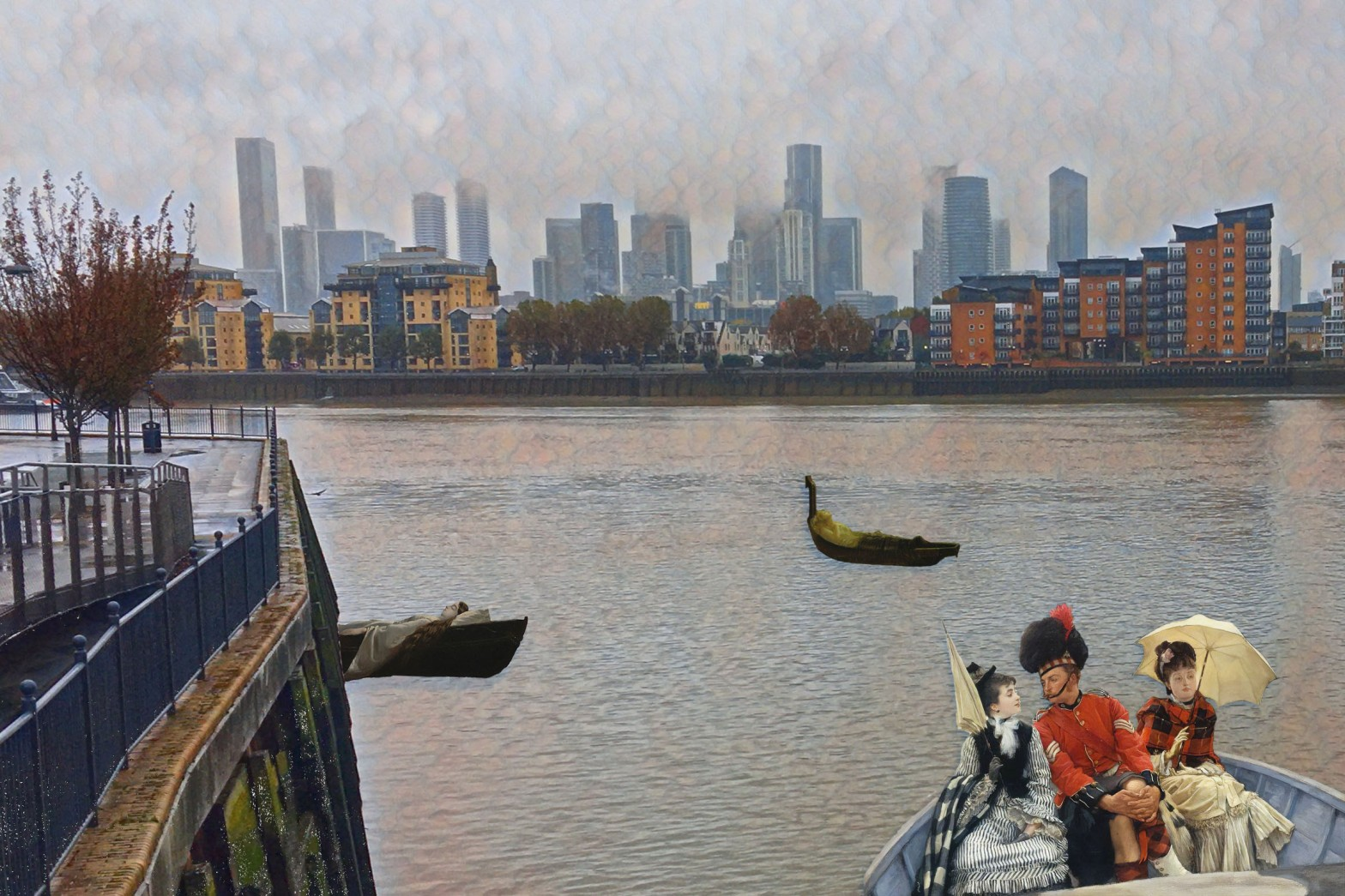 "Photograph of the Thames, Isle of Dogs, and Canary Wharf taken from the Deptford Creek Bridge that incorporates figures from James Tissot's ""Portsmouth Dockyard"" (1877), John Atkinson Grimshaw's ""The Lady of Shalott"" (c. 1875), and Walter Crane's ""The Lady of Shalott"" (1862)"
