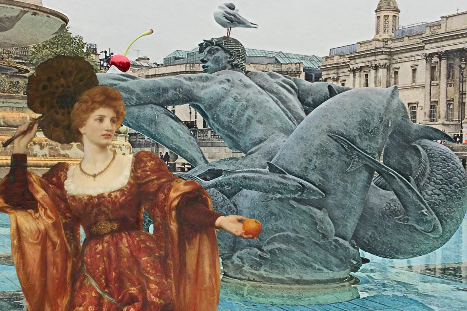 "Photograph of a McMillan and Wheeler merman fountain sculpture in Trafalgar Square with Frank Bernard Dickesee's ""Hesperia"" (1887)"