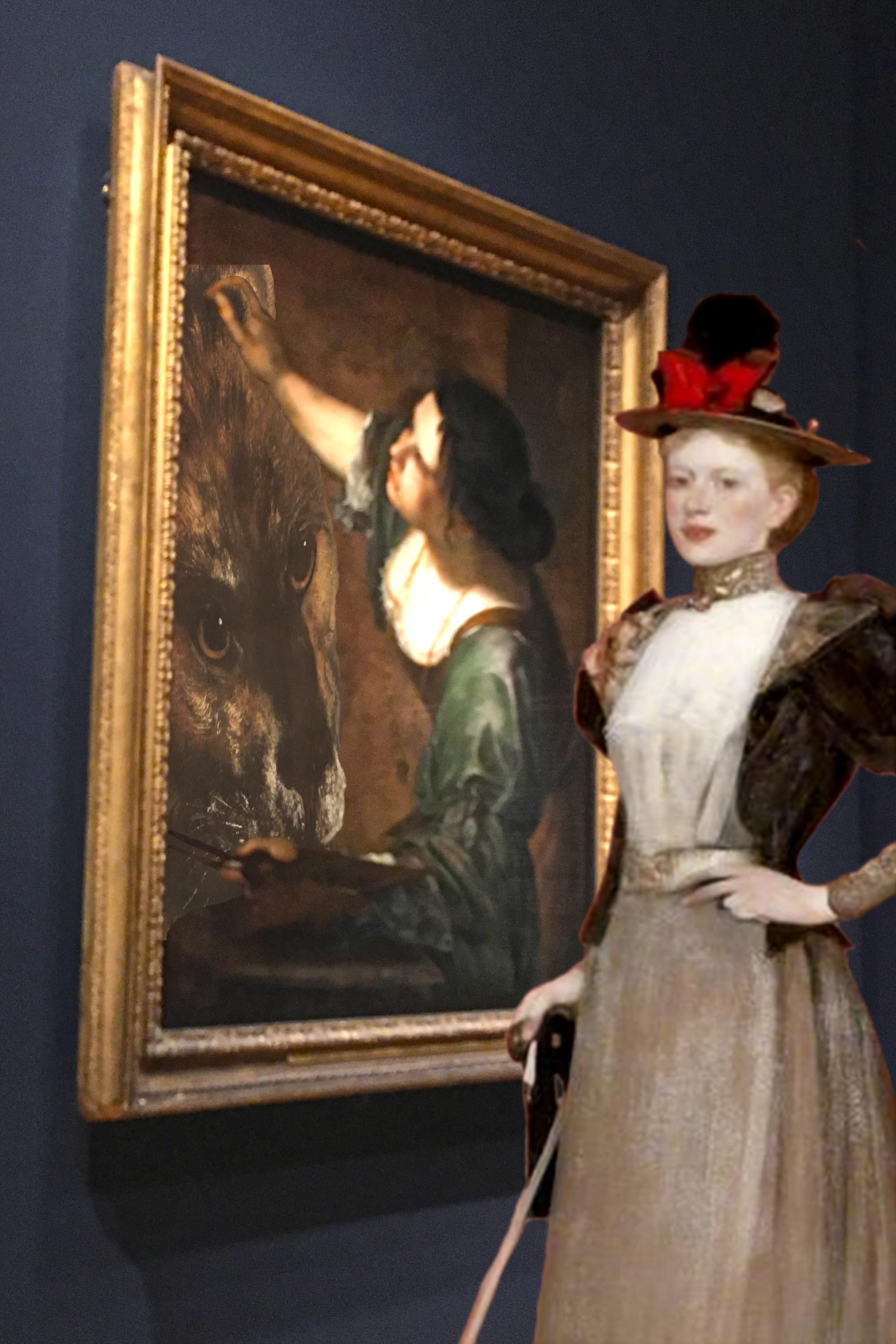 "Photograph taken at the Artemisia show at the National Gallery in London combined with James Guthrie's ""Maggie Hamilton"" (1892 or 1893)"