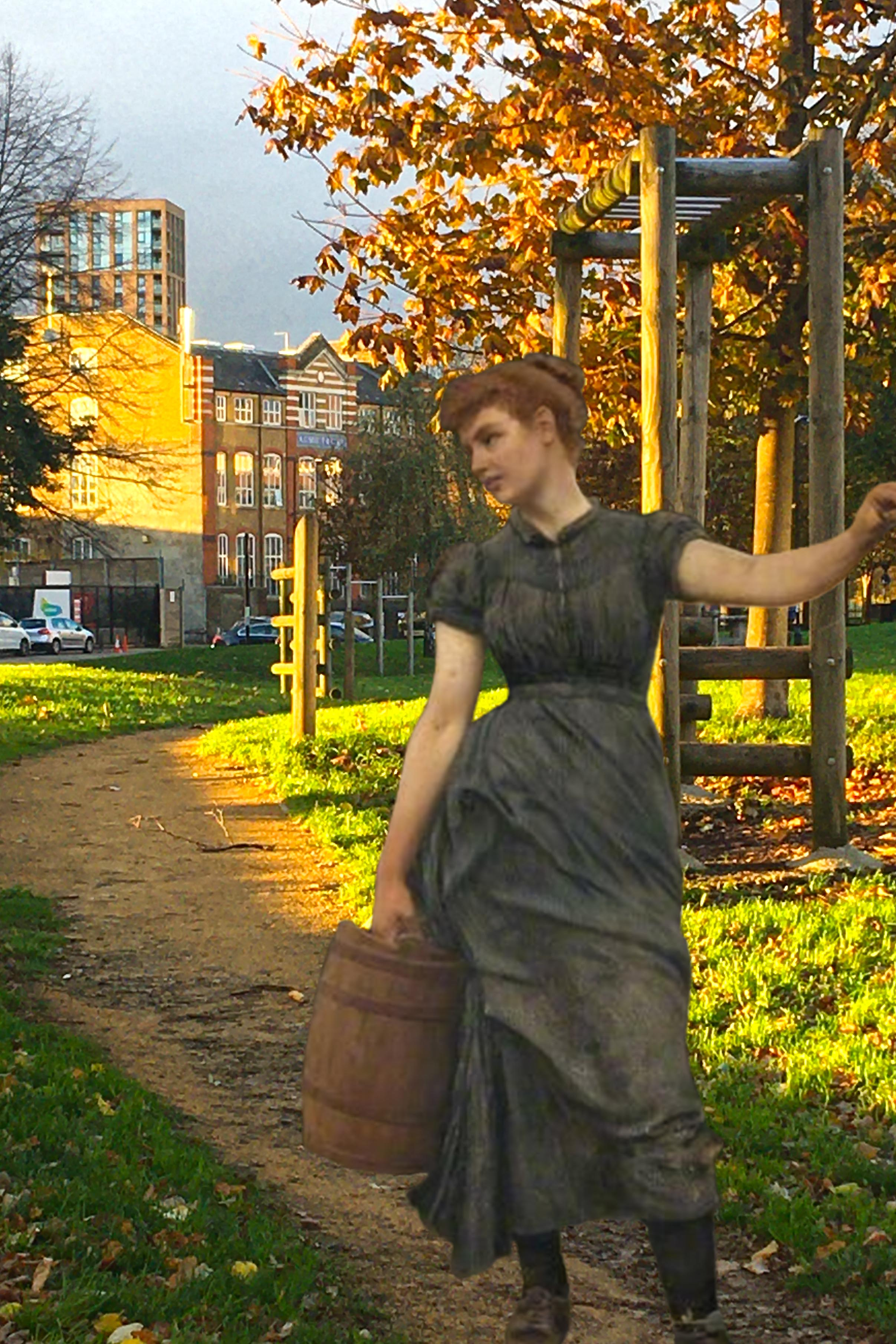 "Collage combining photograph taken in Pepys Park (Lower), Deptford, London and a figure from Robert Cree Crawford's ""The Water Stoup"" (1892)"