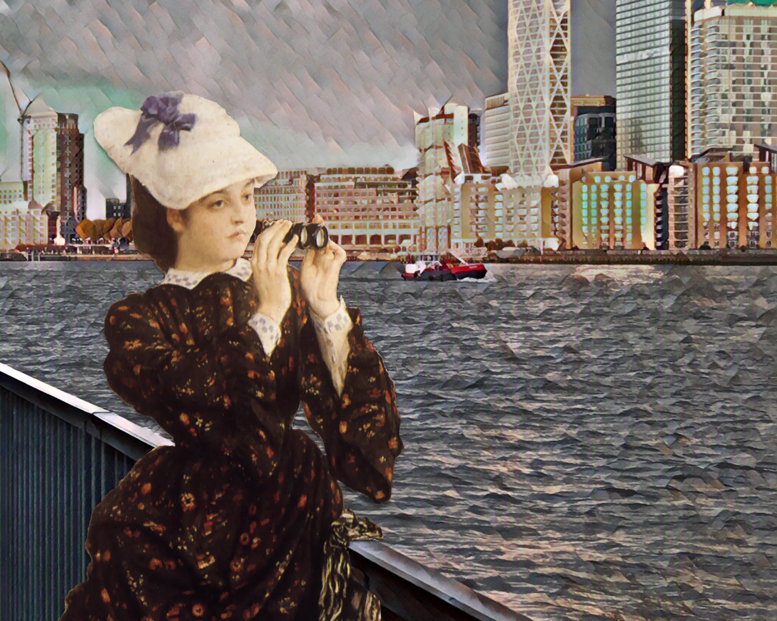 "Photograph of the Thames and Canary Wharf taken near Greenland Dock, Surrey Quays, London, which incorporates an image from Tissot's ""The Captain's Daughter"" (1873)"