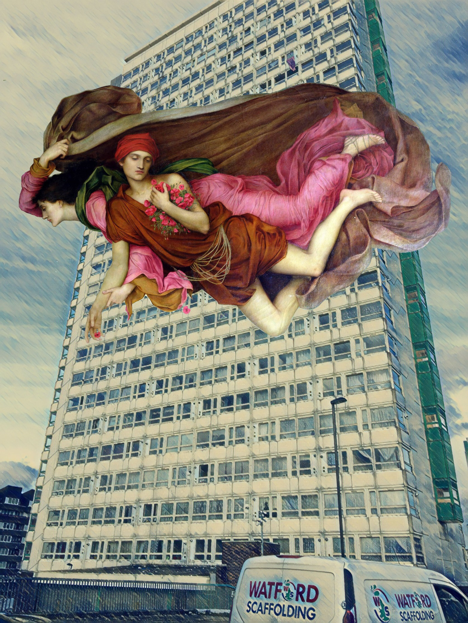 """Photograph taken from Oxestalls Road, Deptford, which incorporates an image from Evelyn De Morgan's """"Night and Sleep"""" (1878)"""
