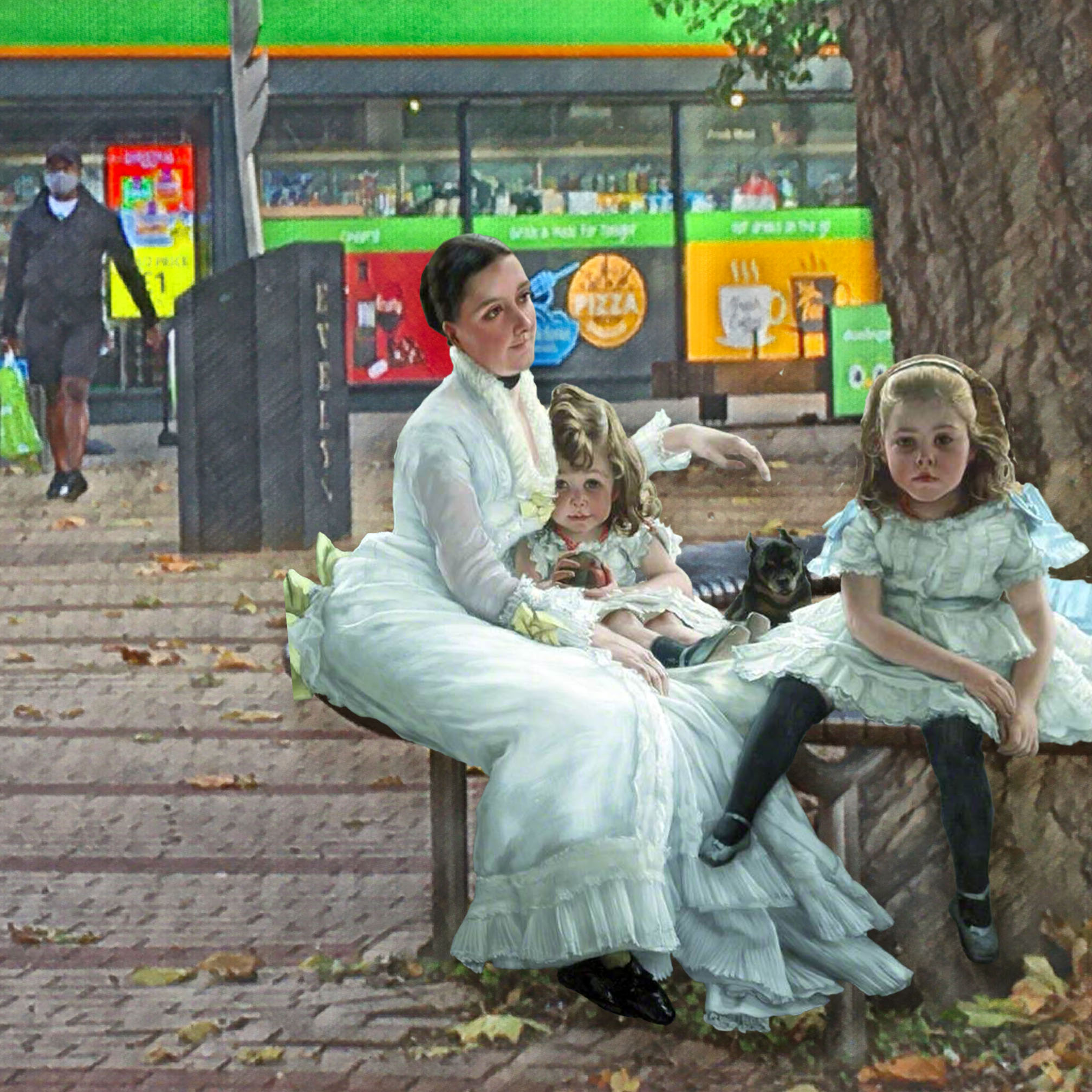 "Photograph taken outside the Evelyn Street Londis, Deptford, that incorporates figures from James Tissot's ""Catherine Smith Gill and Two of Her Children"" (1877)"