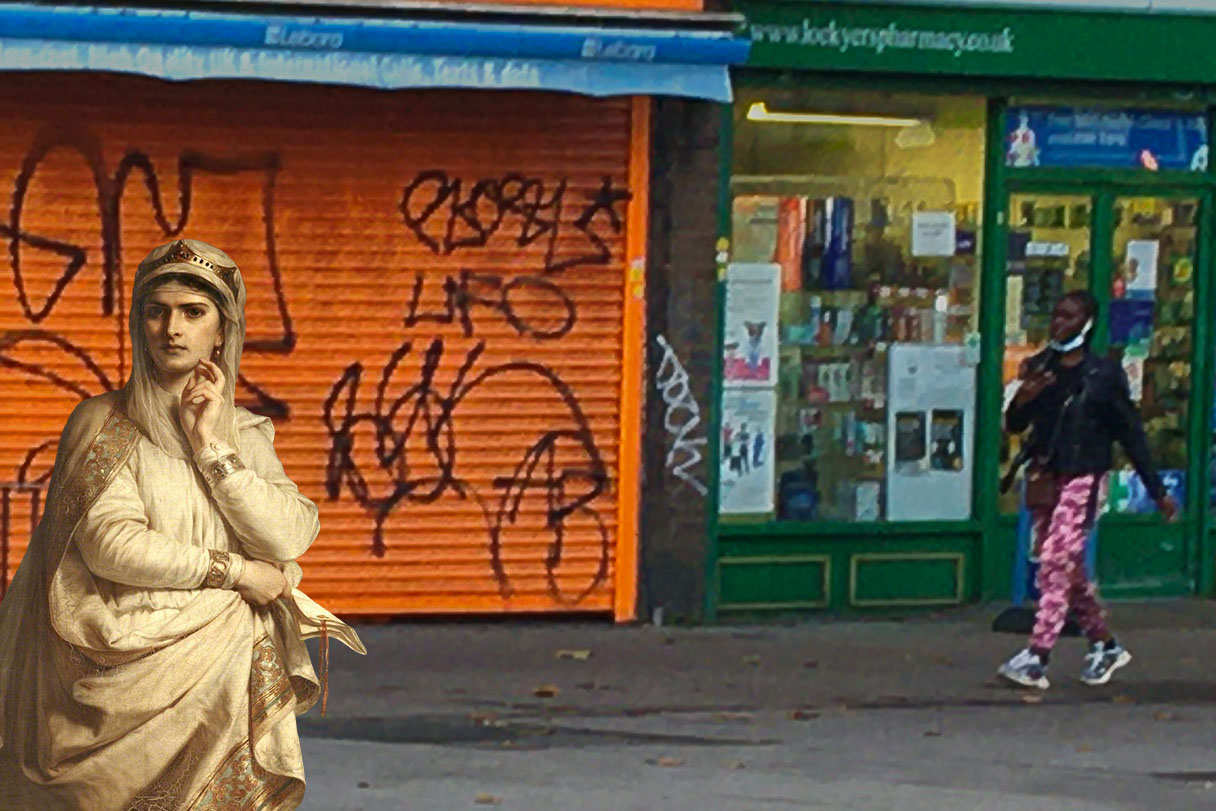 """Photograph taken on Evelyn Street, Deptford, London, that incorporates a figure from Thomas Francis Dicksee's """"Ideal Portrait of Lady Macbeth"""" (1870)"""