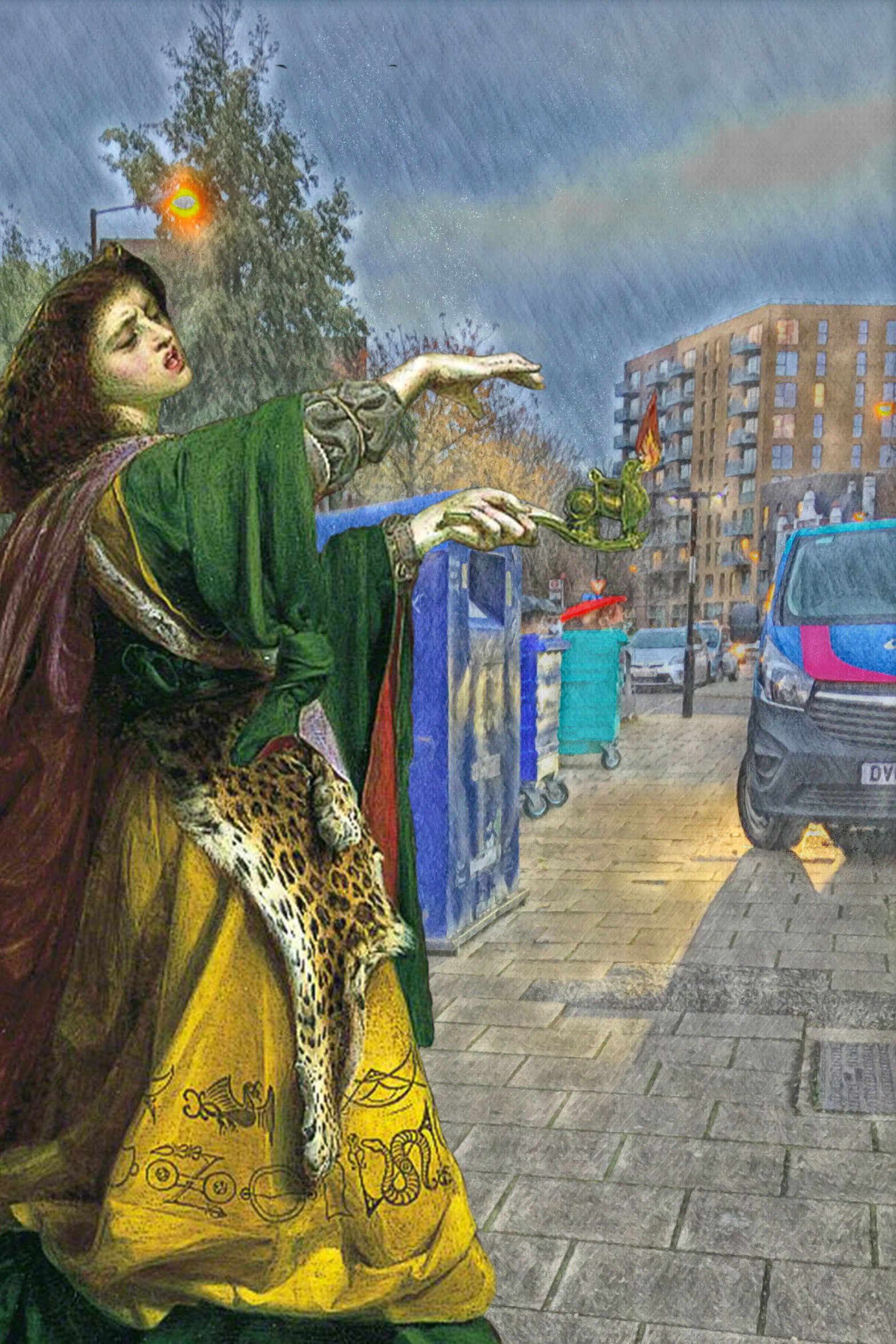 "Figure from Frederick Sandys's ""Morgan-le-Fay"" (1864) standing near the recycling bins on Grove Street, Deptford (SE8), London"