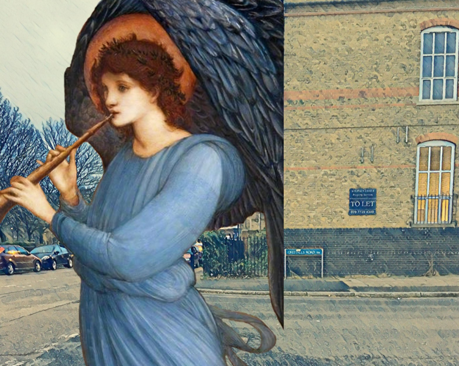 "Photograph taken at the corner of Oxestalls Road and Grove Street, Deptford, that incorporates Edward Burne-Jones's ""Angel"" (1881)"
