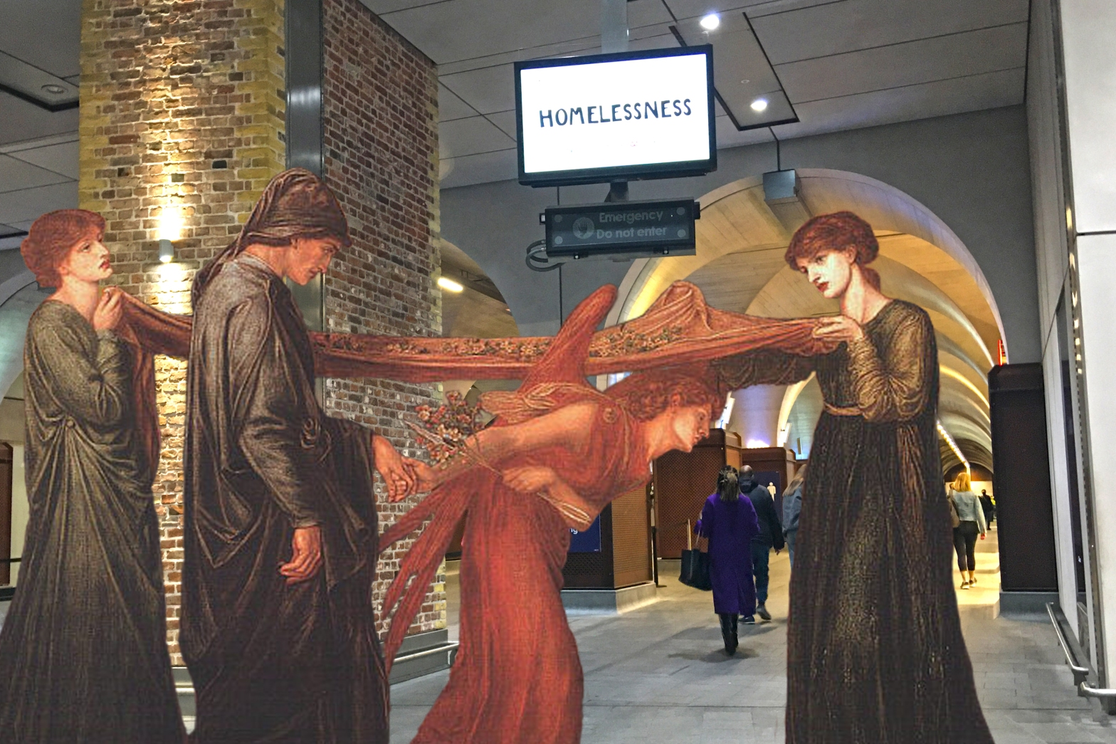 "Photograph taken at London Bridge Station that incorporates Dante Gabriel Rossetti's ""Dante's Dream at the Time of the Death of Beatrice"" (1871)"