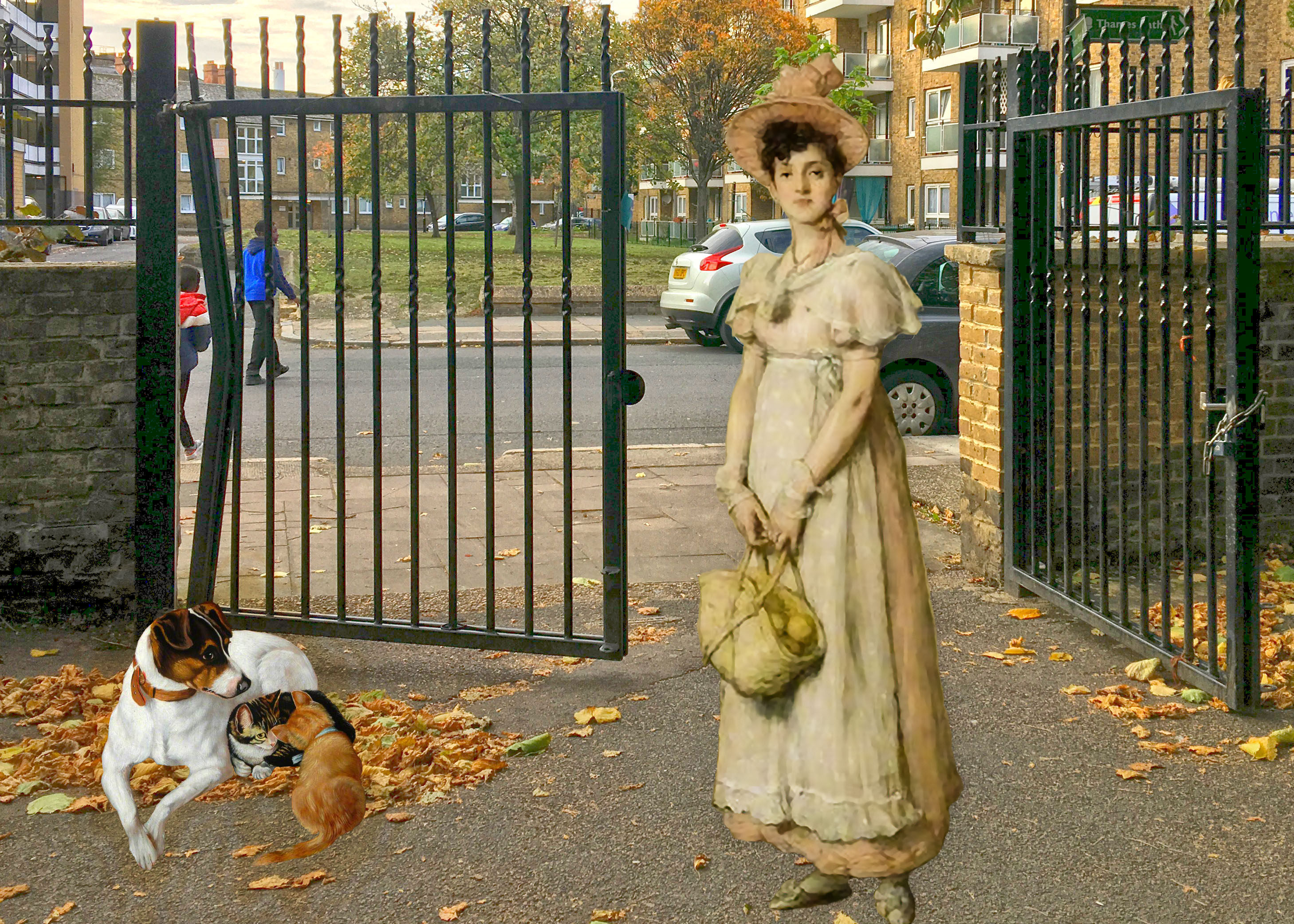 "Photograph of the Sayes Court Park gates with animals from JS Dyson's ""The Foster Mother"" (1894) and William Quiller Orchardson's ""The Young Housewife"" (1878)"