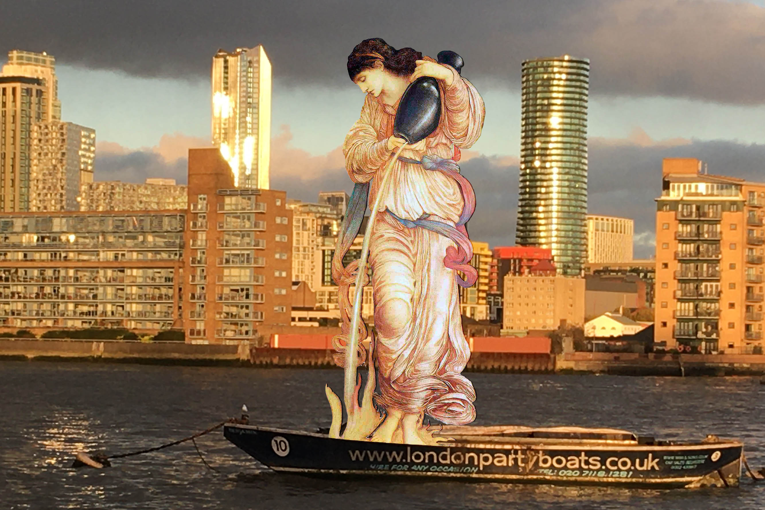 "Photograph of the Thames and Canary Wharf that incorporates Edward Burne-Jones's ""Temperantia"" (1872)"