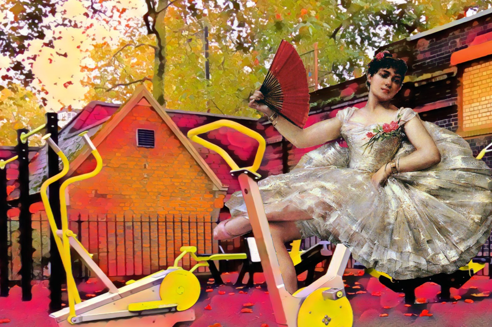 "Photograph taken in Victoria Embankment Gardens that incorporates figure from Léon François Comerre's ""Portrait of the Ballerina Rosita Mauri"""