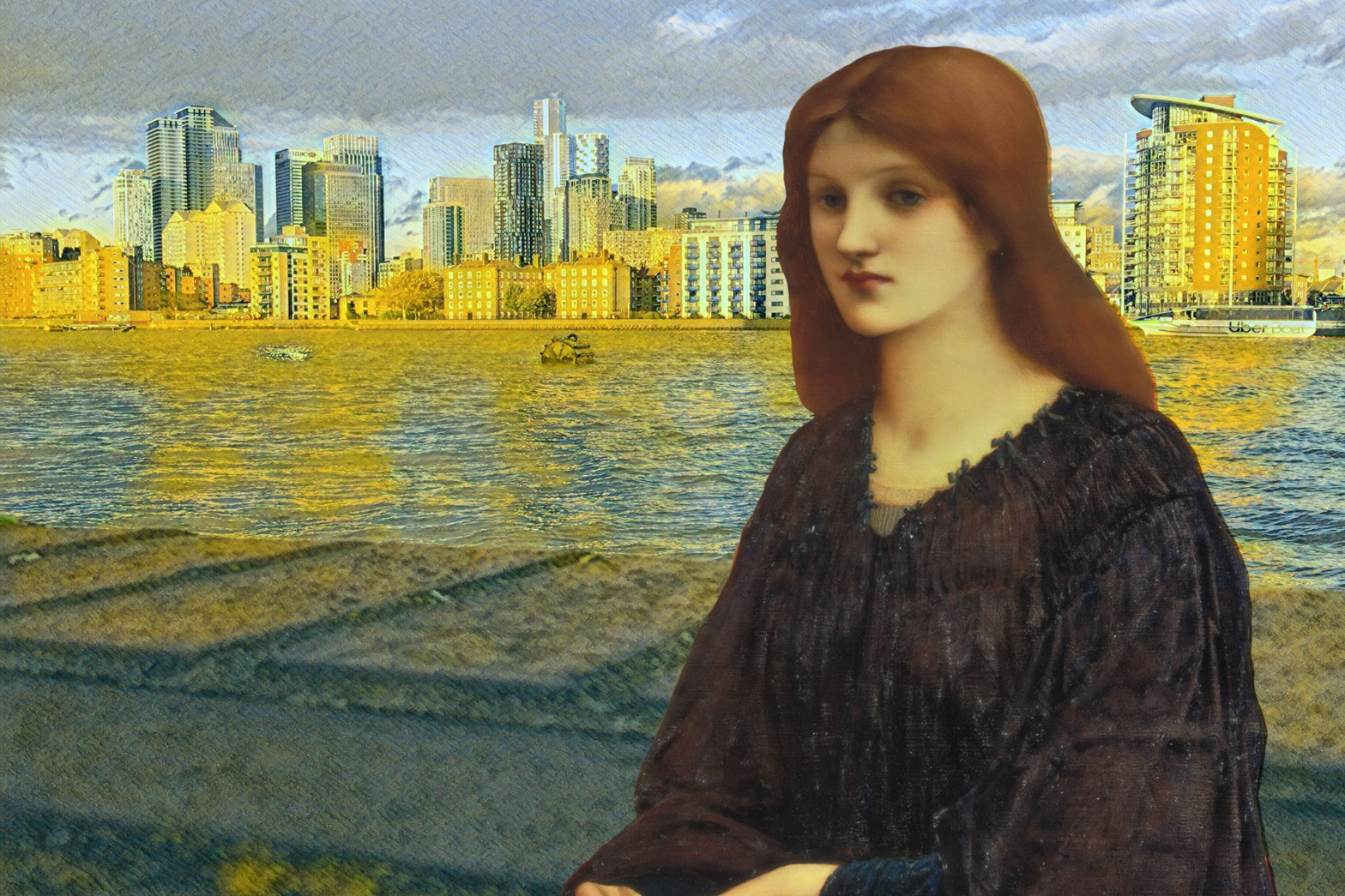 "Photograph of the Thames and Canary Wharf that incorporates Edward Burne-Jones's ""Vespertina Quies"" (1893)"