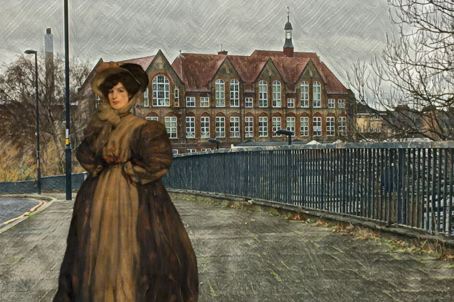 "Photograph of Deptford Park Primary School taken from Oxestalls Road with Bessie MacNicol's ""Deborah"" (1904)"