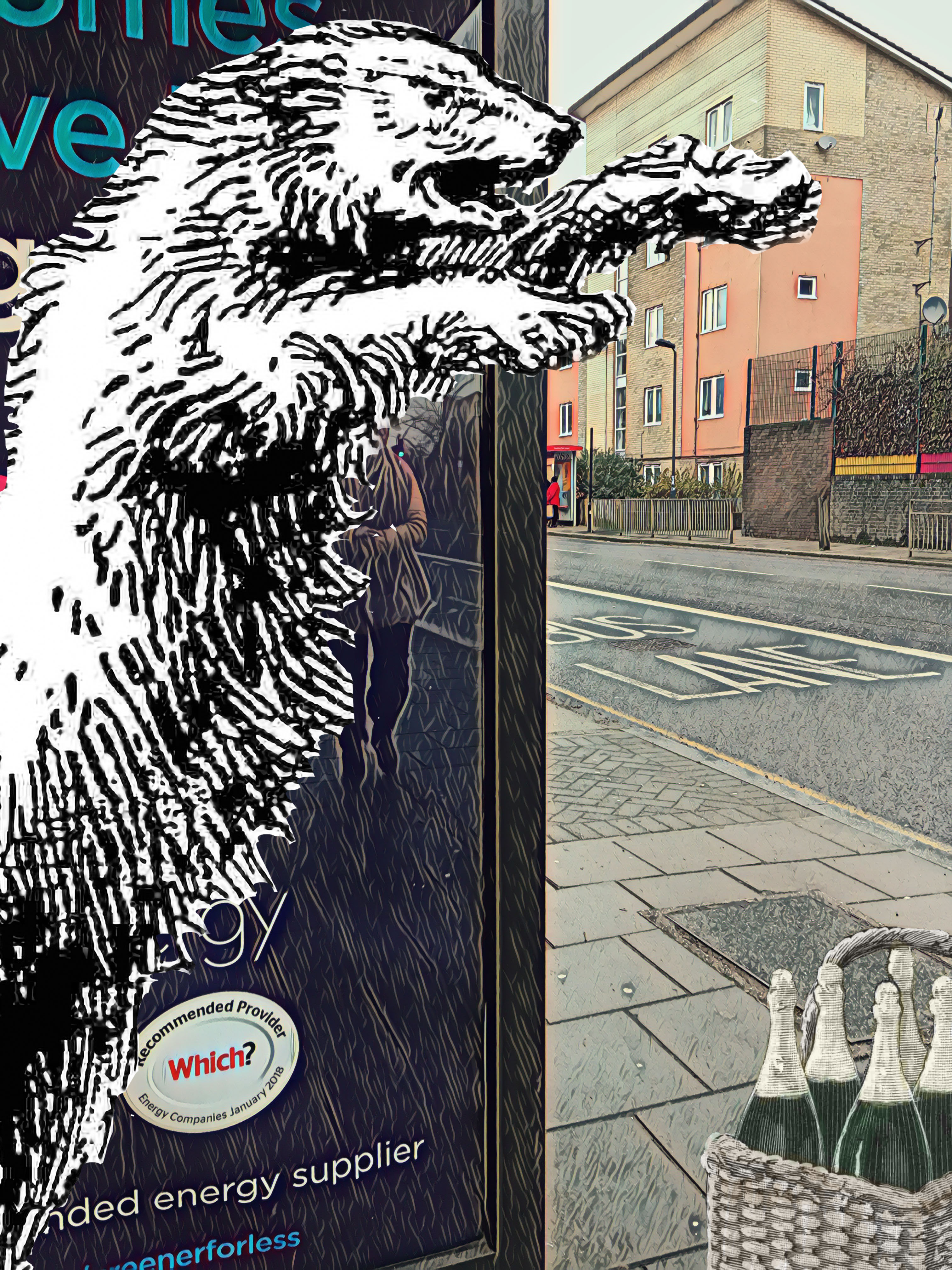"Photograph taken at the Q (Deptford Park School) bus stop on Evelyn Street that incorporates a polar bear from the ""With an Angry Roar the Bear Rose to Its Full Height"" illustration on the cover of the 17 December 1899 issue of ""Chums"" and some bubbles from C. Gregory's ""Christmas Decorations"" illustration on page 9 of the 20 December 1870 issue of the ""Illustrated London News"""