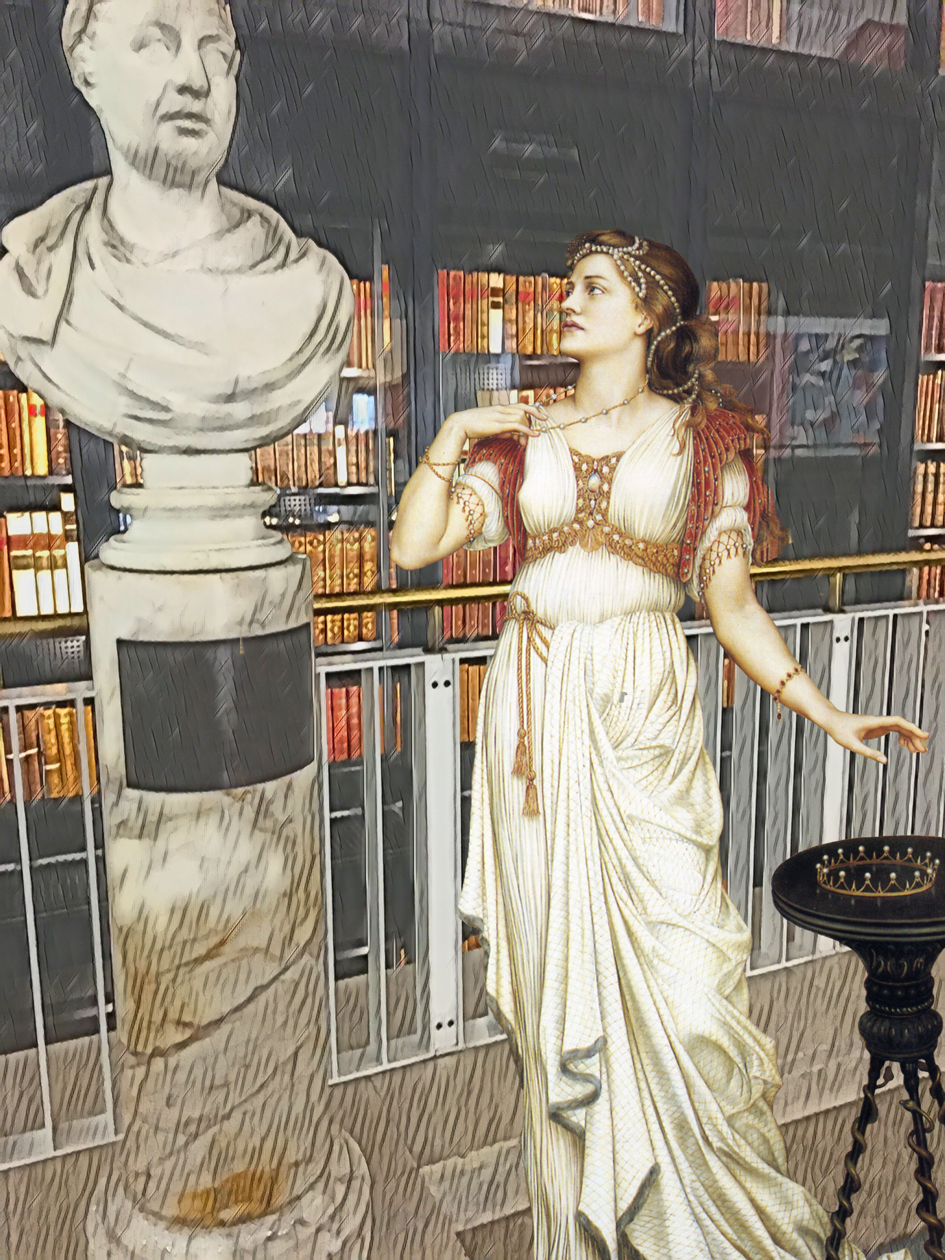 "First floor of the British Library with Evelyn de Morgan's ""The Crown of Glory"" (1896)"