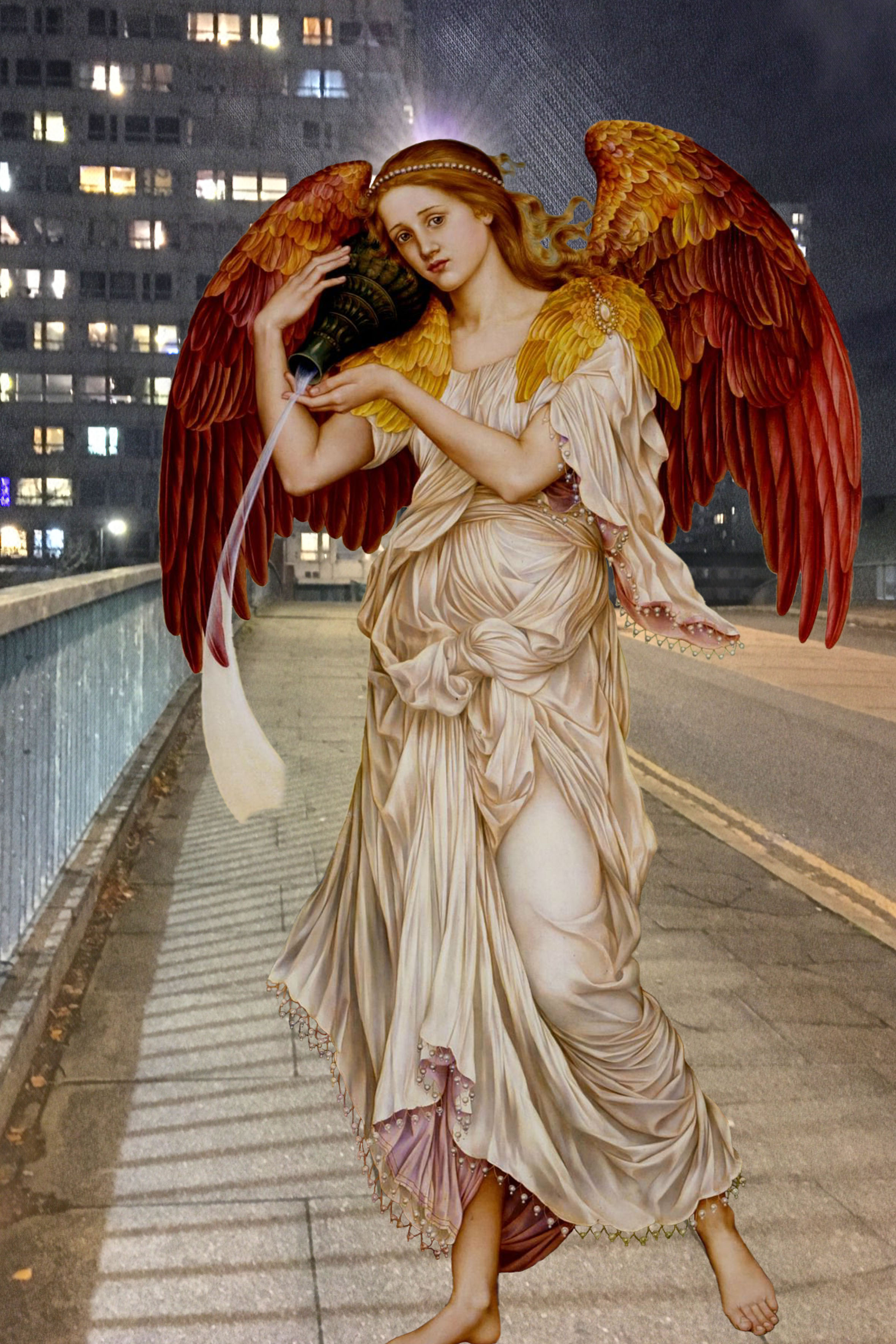 "Evelyn De Morgan's ""Eos"" (1895) walks down Deptford's Oxestalls Road at night"