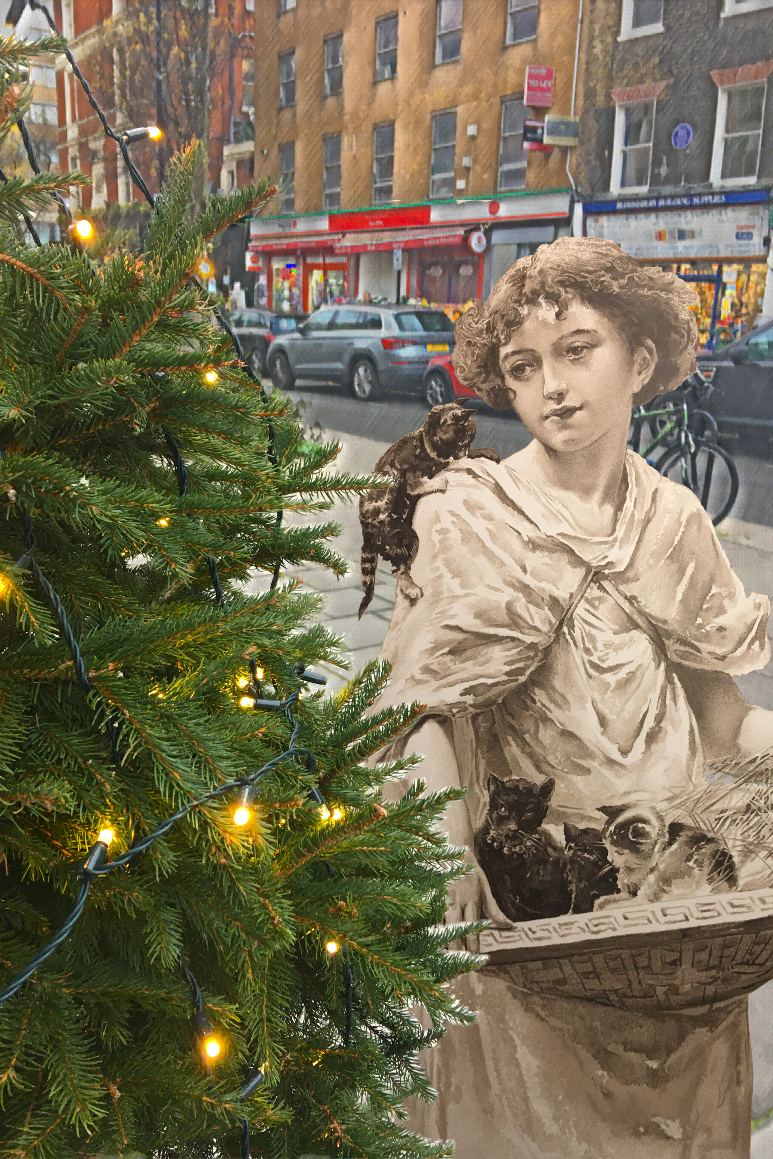 """Photograph taken on Marchmont Street, London, with figure from Alice Havers's """"Wide Awake"""" from the """"Cassell's Christmas Annual"""" (1890)"""