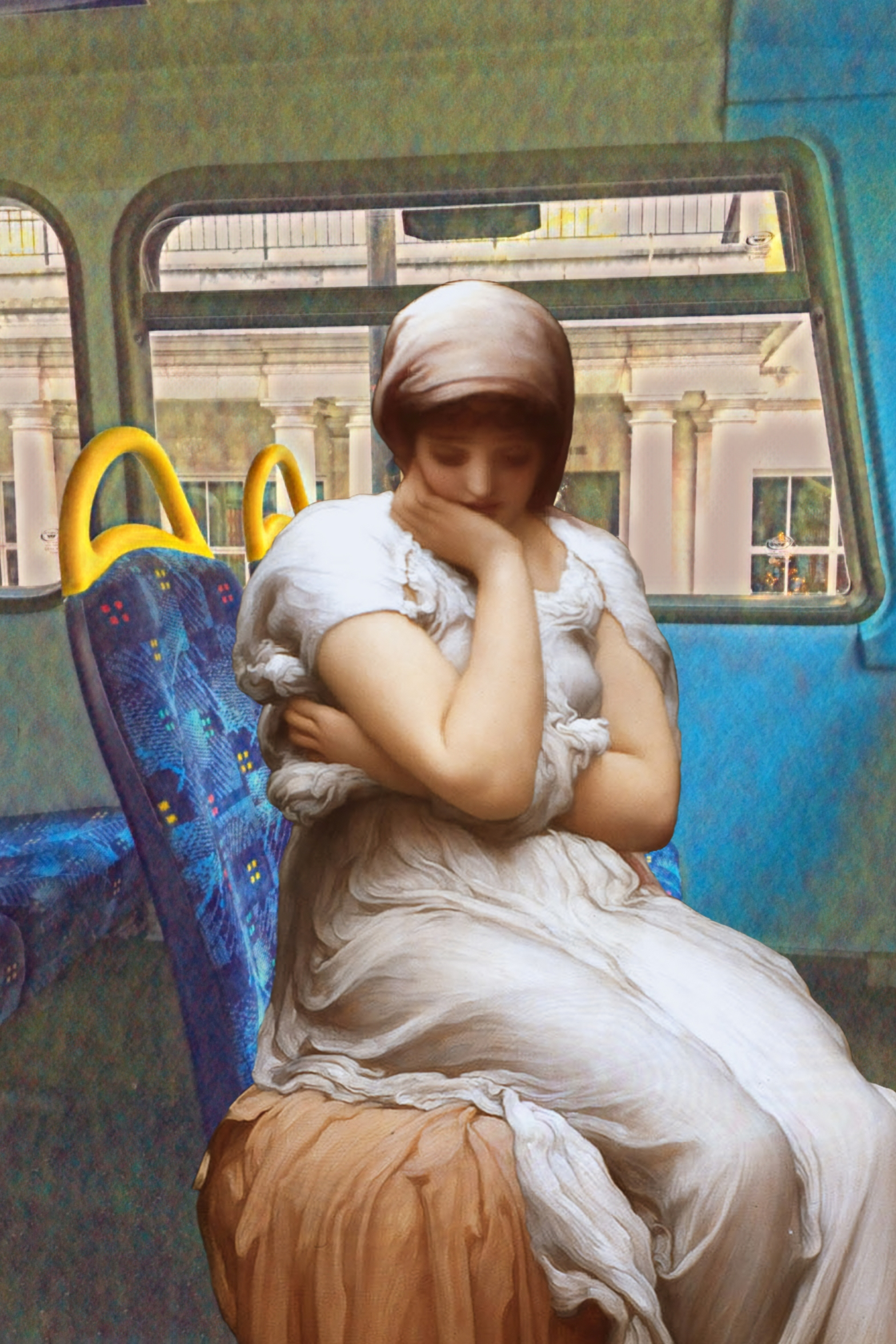 "Photograph taken on the top deck of the 188 bus near Russell Square with figure from Frederick Leighton's ""Solitude"" (c.1890)"