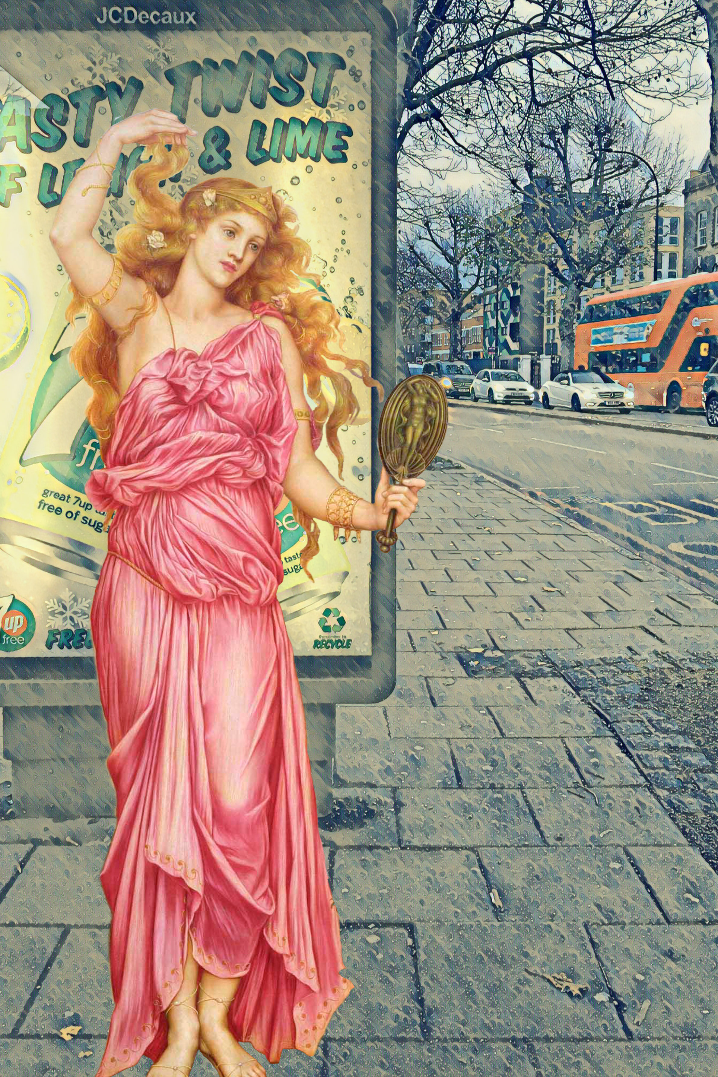 "Evelyn De Morgan's ""Helen of Troy"" (1898) waits for a bus on the New Kent Road near Elephant and Castle"