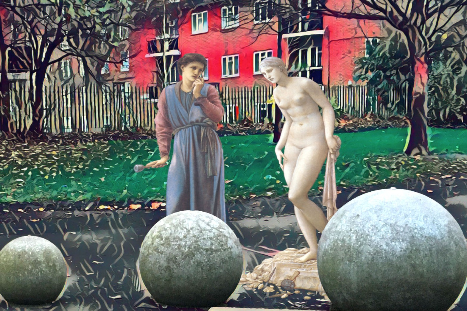 "Photograph of public art near Old Kent Road in London with Burne-Jones's ""Pygmalion and the Image 2: The Hand Refrains"" (1878)"