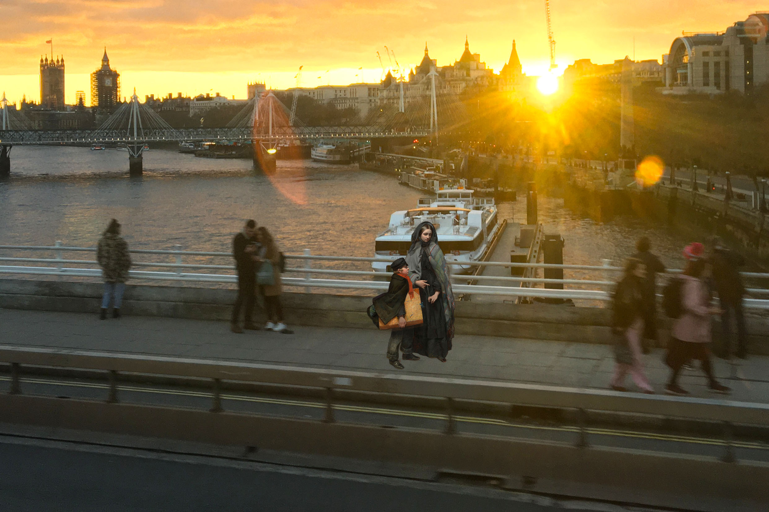 "Figures from Emily Mary Osborn's ""Nameless and Friendless"" (1857) crossing Waterloo Bridge at sunset"