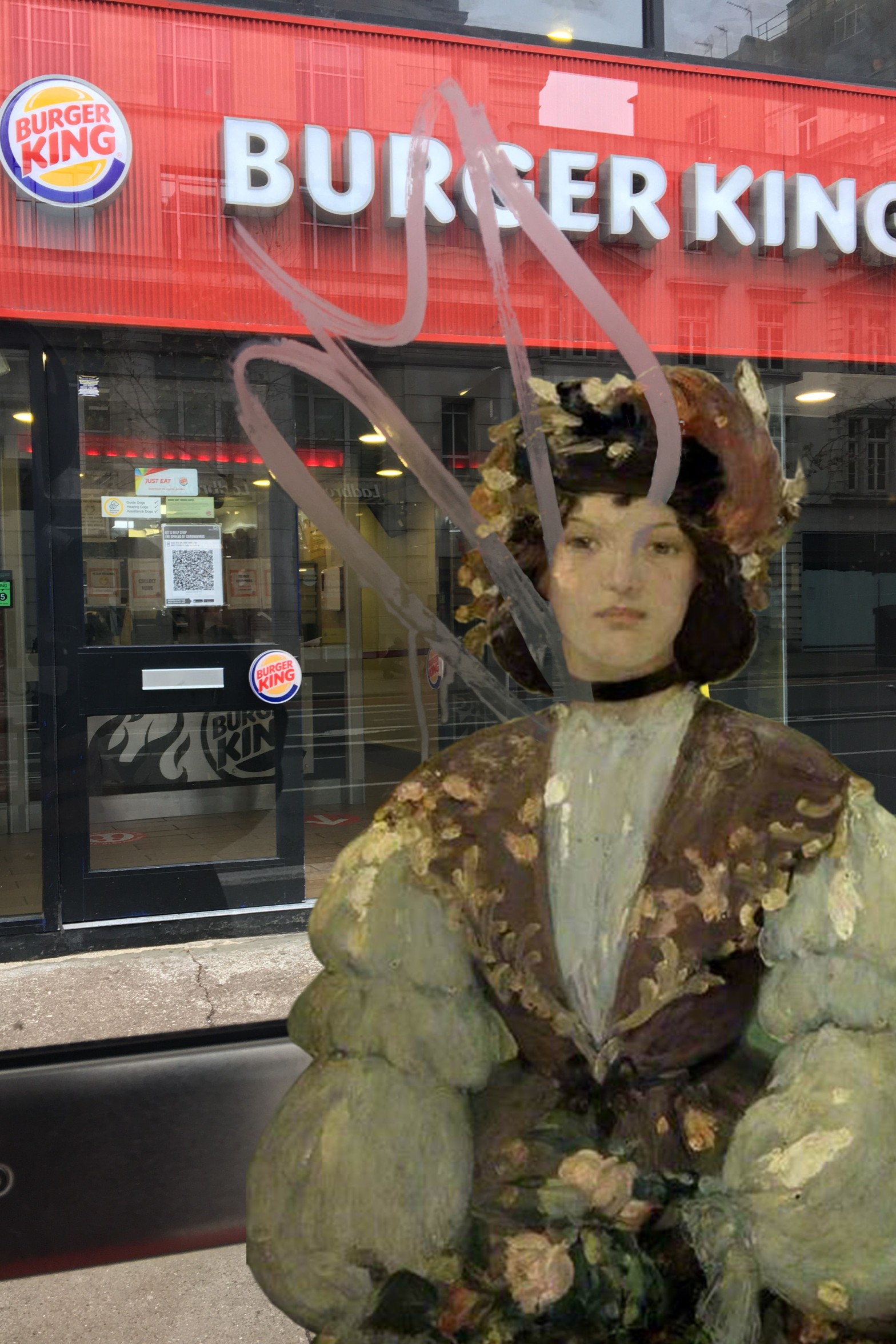"Bessie MacNicol's ""A Girl of the Sixties"" (1899) walks past a bus stop outside of Burger King on Kingsway near Holborn Station"