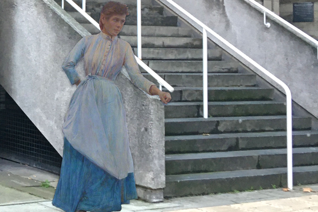"Henry Meynell Rheam's ""Girl in Blue"" (1891) leans against the IALS entrance stairs"