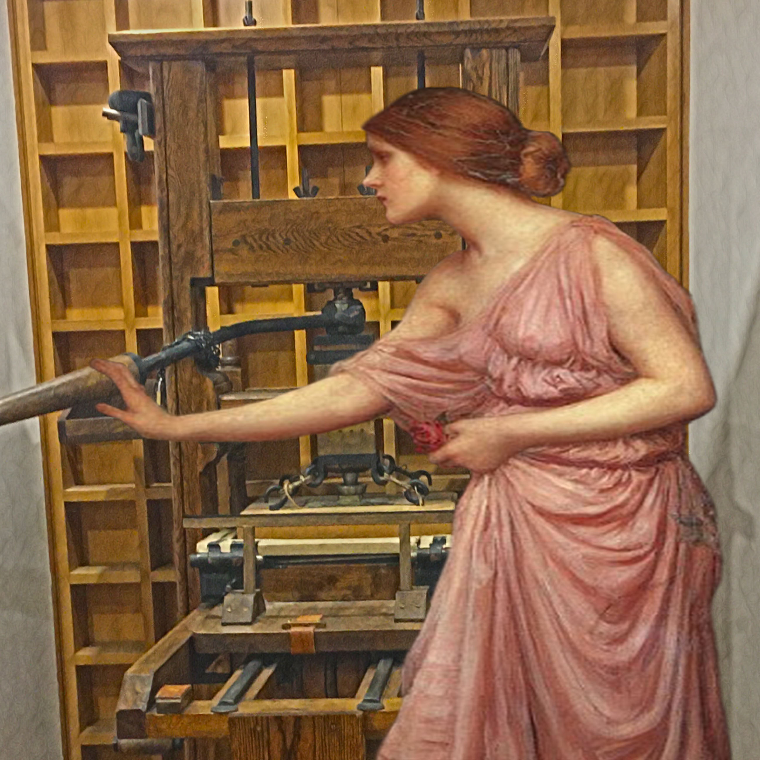 "John William Waterhouse's ""Psyche Opening the Door Into Cupid's Garden"" (1903) and the printing press found on the Lower Level of the British Library"