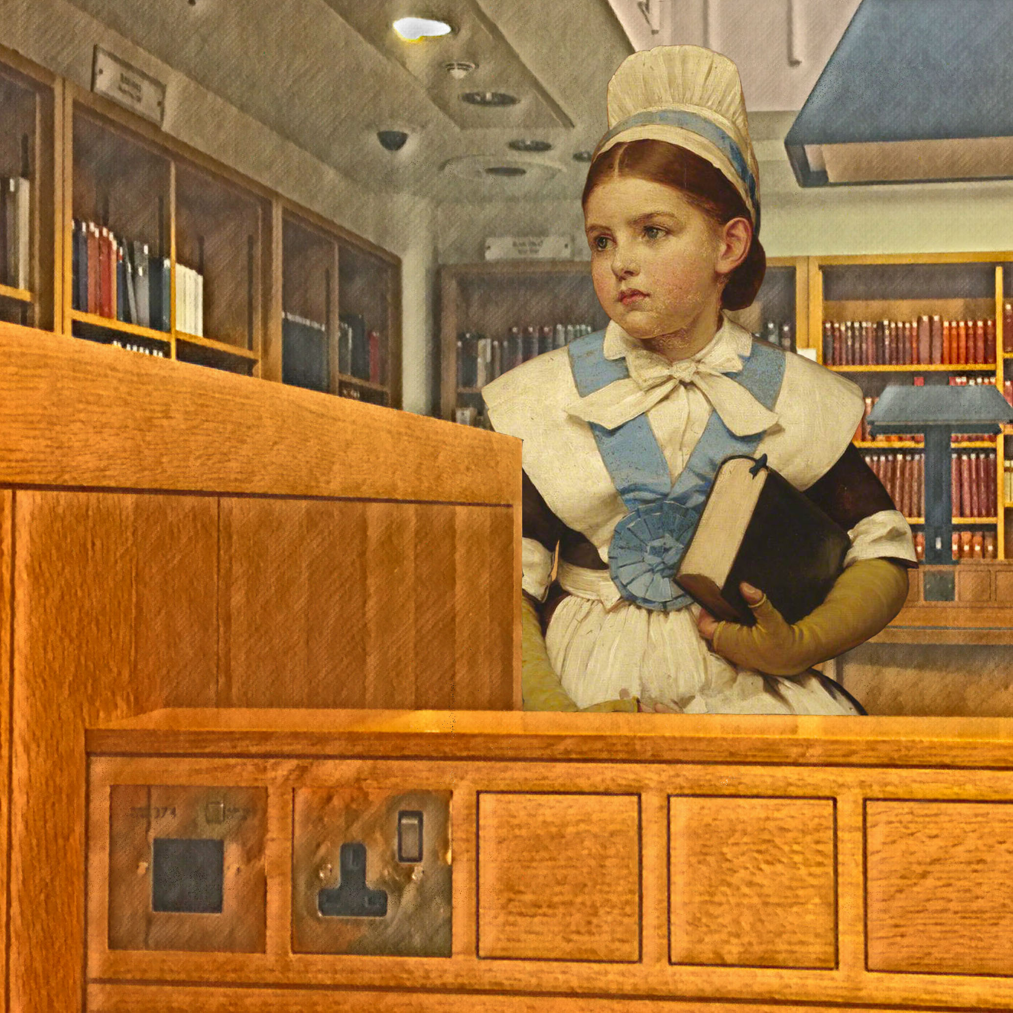 "George Dunlop Leslie's ""Charity School Girl"" (1882) in the British Library's Rare Books & Music reading room"