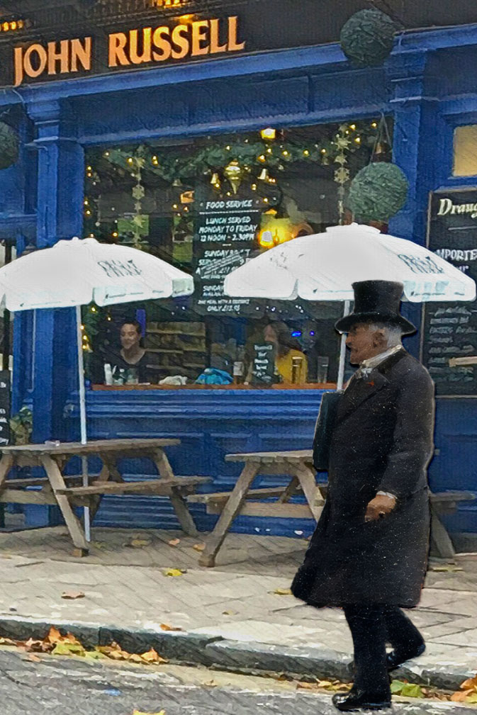 "Figure from Jean Béraud's ""A Windy Day on the Pont des Arts"" (1880s) outside the Lord John Russell pub on Marchmont Street"