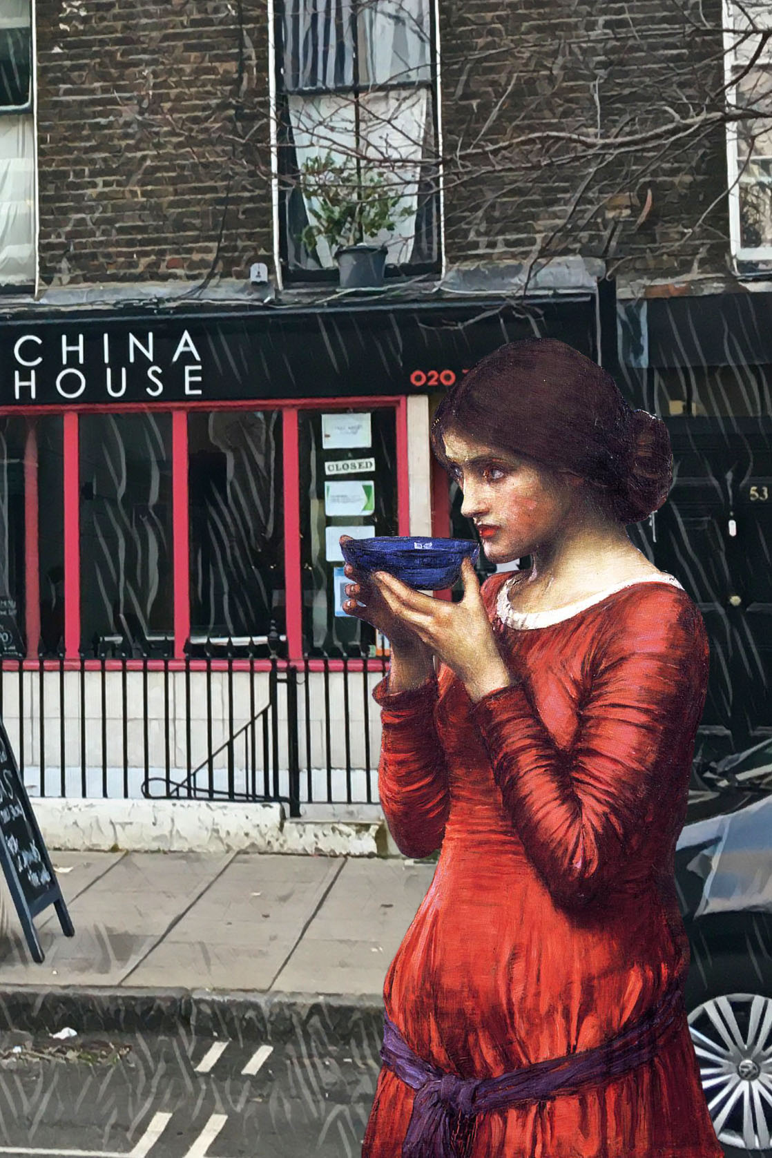 "John William Waterhouse's ""Destiny"" (1900) outside of the China House restaurant on Marchmont Street, Bloomsbury, London"