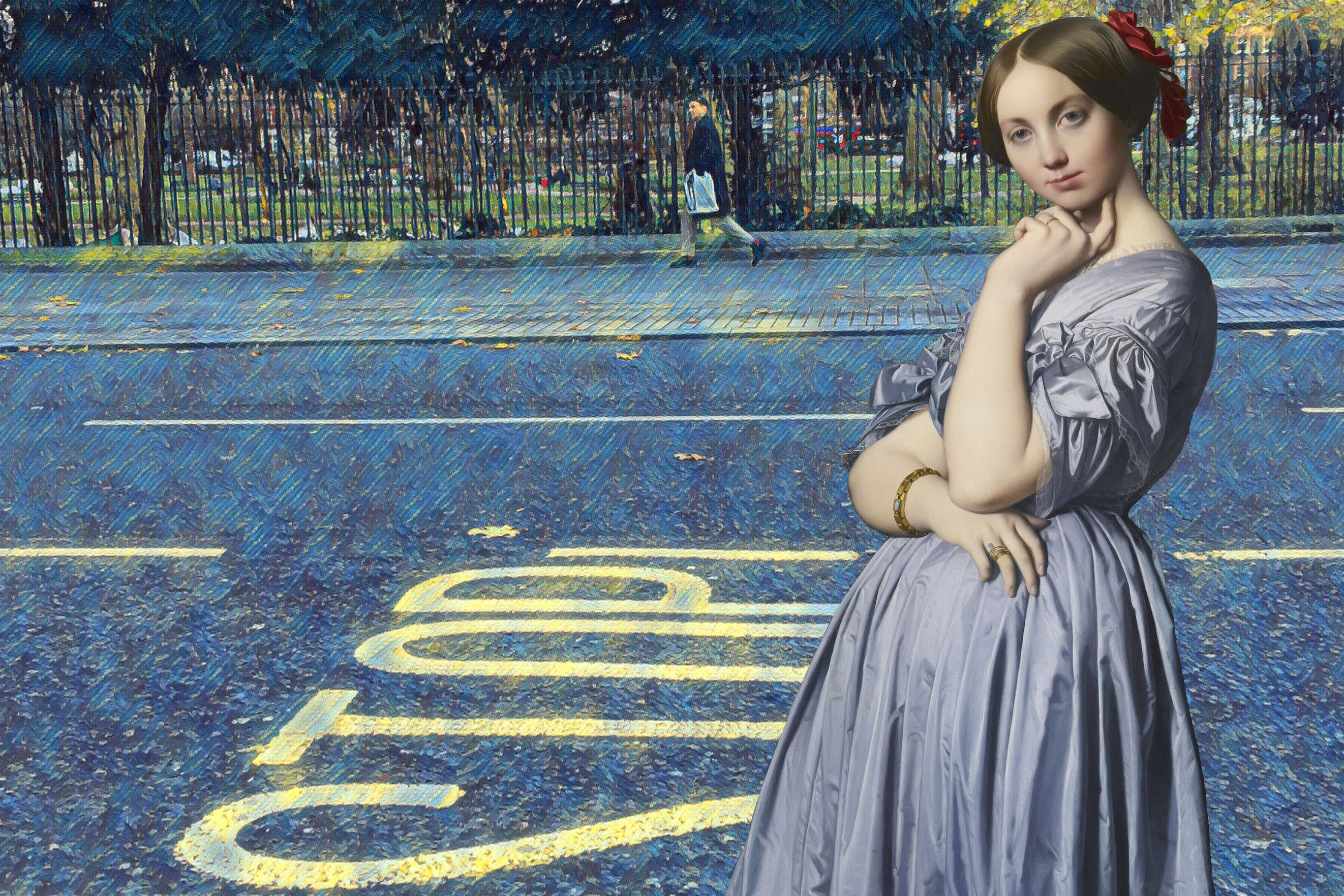 "Subject of Jean-Auguste-Dominique Ingres's ""Portrait of Comtesse d'Haussonville"" (1845) across the street from Russell Square Park, Bloomsbury, London"
