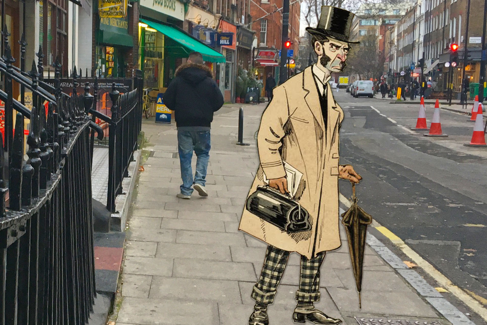 """Joseph Clayton Clark's (aka Kyd) """"A Reader of the Daily News"""" (c.1900) on Marchmont Street, Bloomsbury, London"""