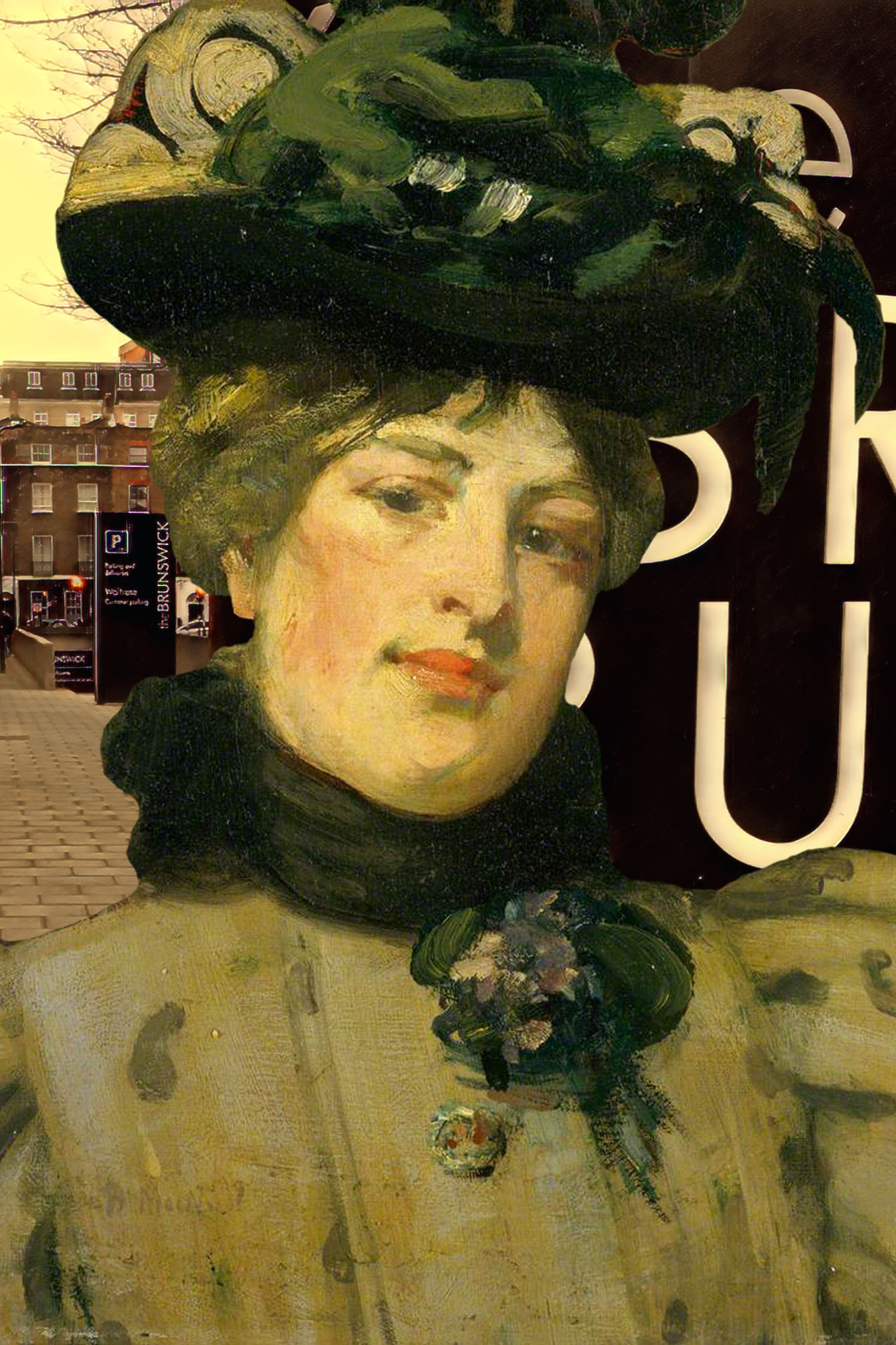 "Bessie MacNicol's ""Portrait of a Lady (The Green Hat)"" (n.d.) outside of the Brunswick Shopping Centre, Marchmont Street, Bloomsbury, London"