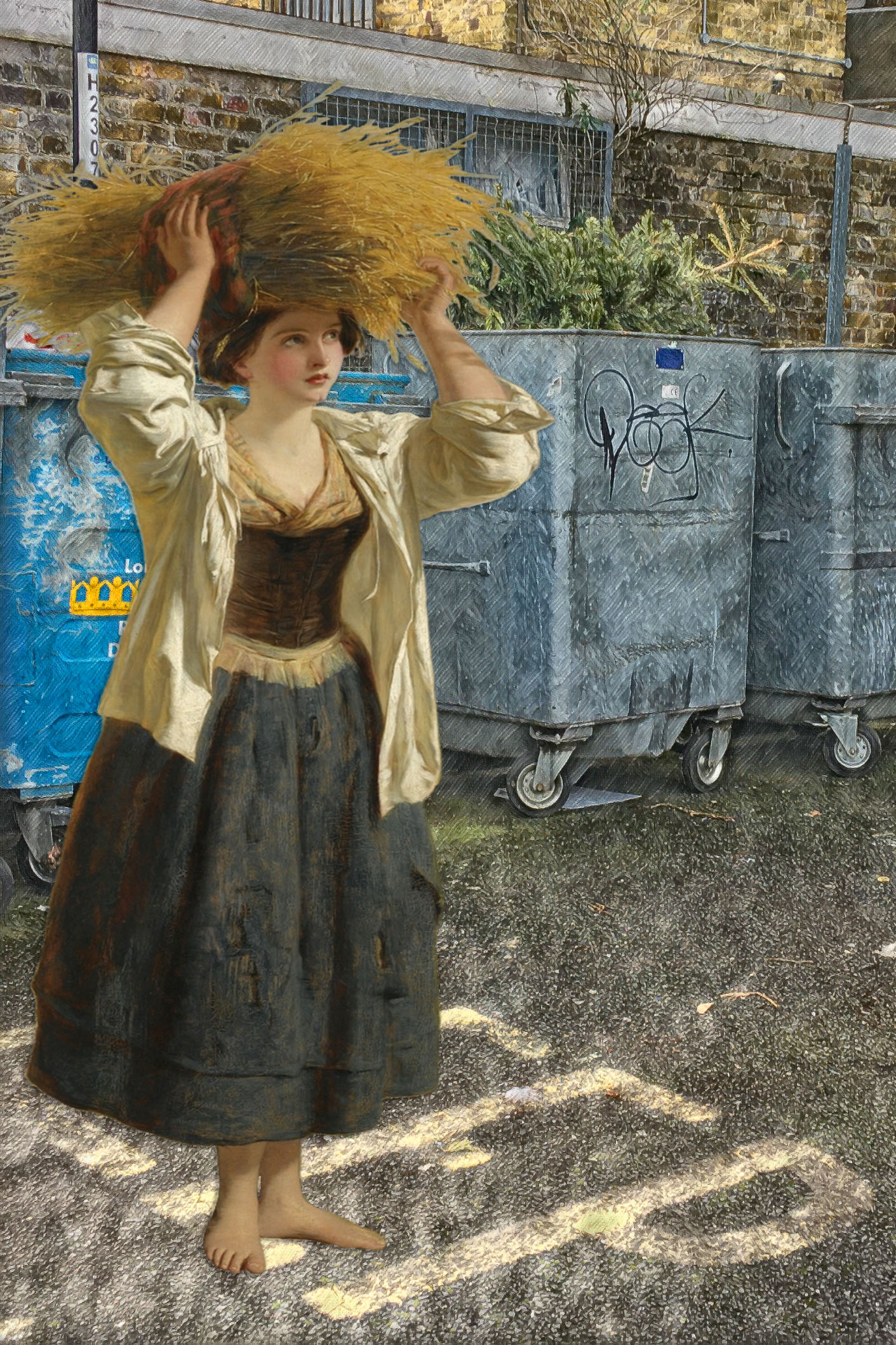 "William Powell Frith's ""The Little Gleaner"" (c. 1850) near some bins on Grove Street in Deptford"