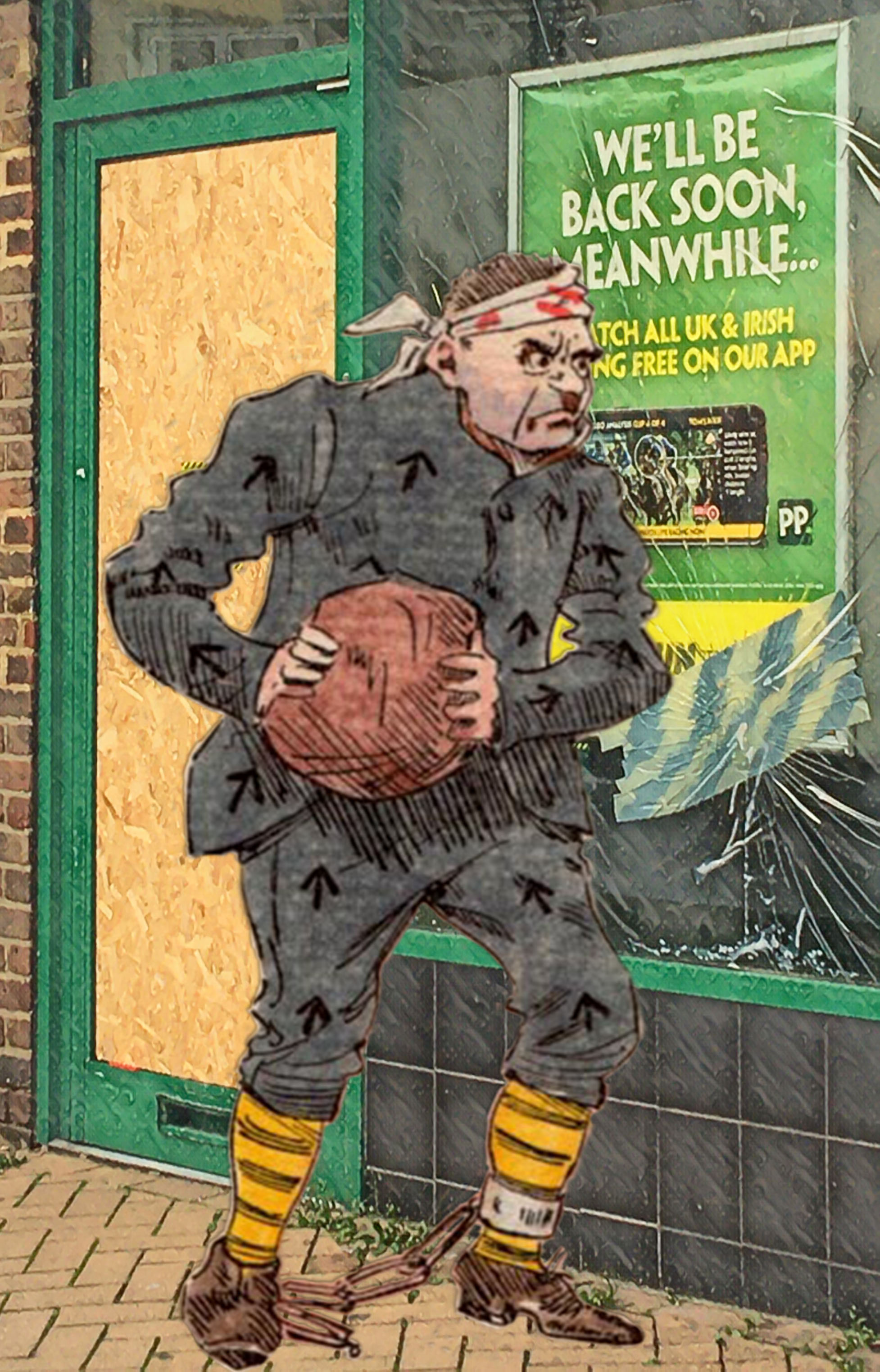 """Joseph Clayton Clark's (aka Kyd) illustration of Charles Dickens's """"Escaped Convict Magwitch"""" from """"Great Expectations"""" (c.1900) outside the Evelyn Street Paddy Power"""