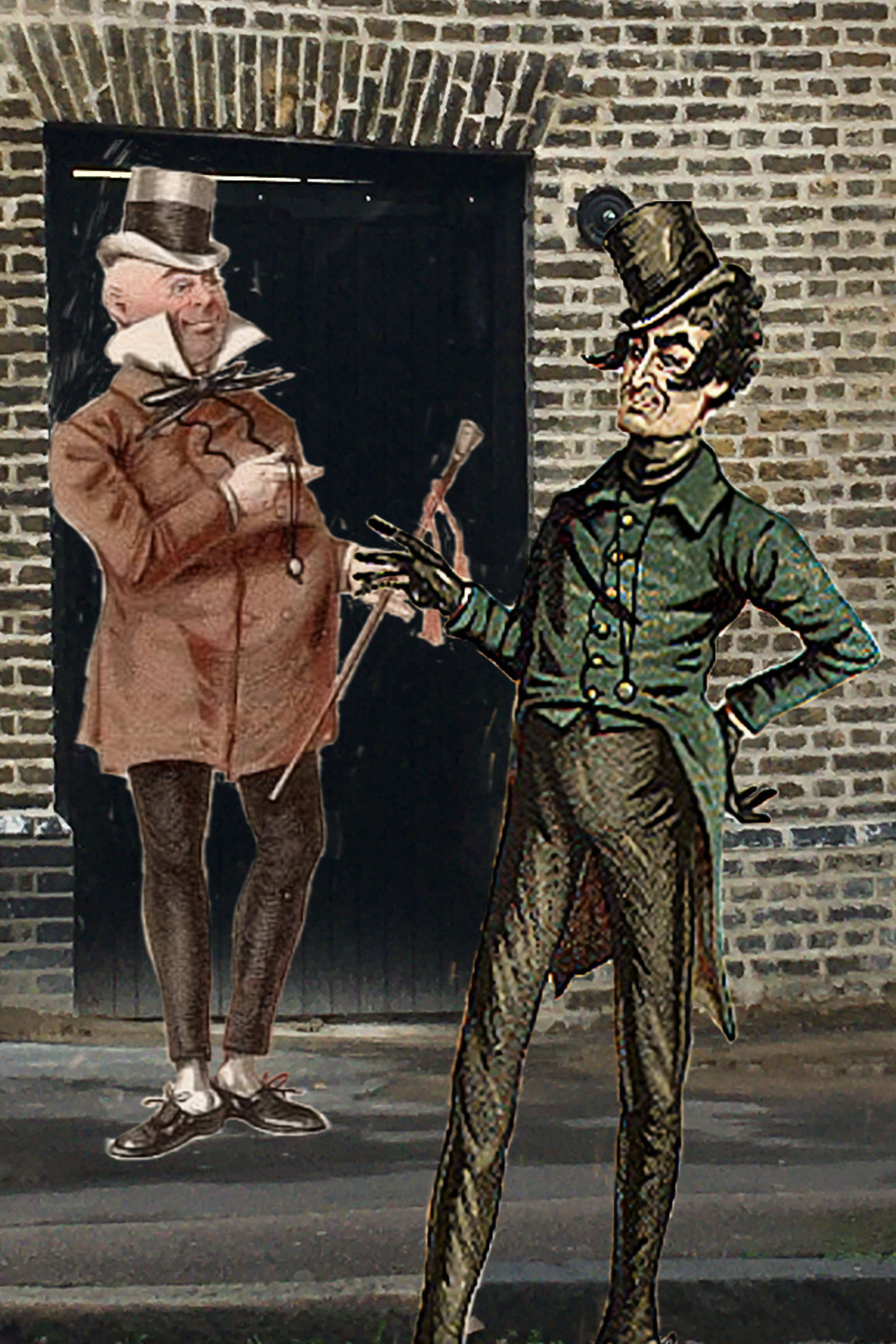 Joseph Clayton Clark's (aka Kyd) illustrations of two Dickens characters (Wilkins Micawber from David Copperfield and Mr. Jingle from the Pickwick Papers) next to the Grove Street gateway to the former Royal Navy Dockyard (now Convoys Wharf)