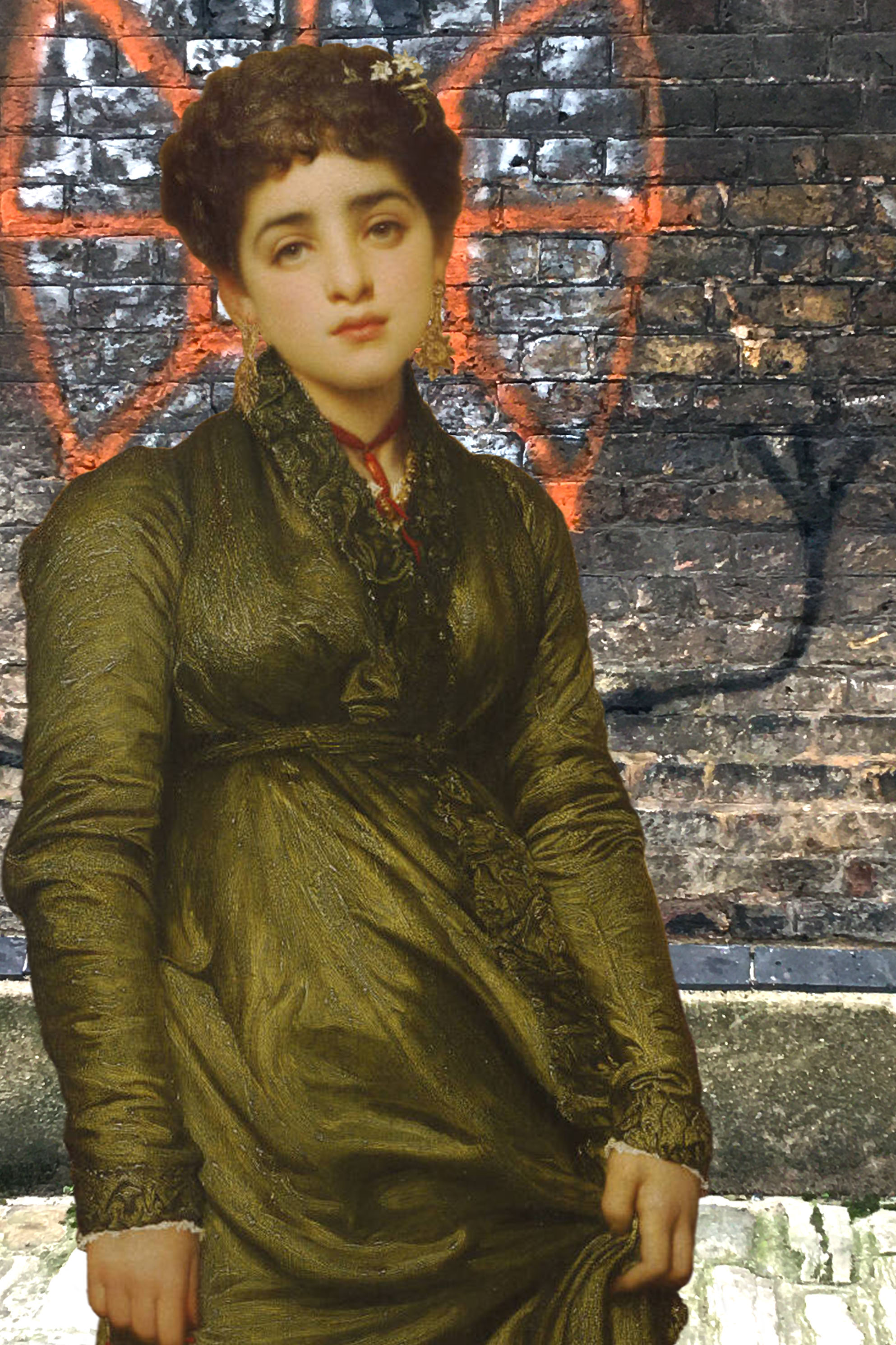 """Frederic Leighton's """"After Vespers"""" (1871) in front of graffiti found on Watergate Street, Deptford"""