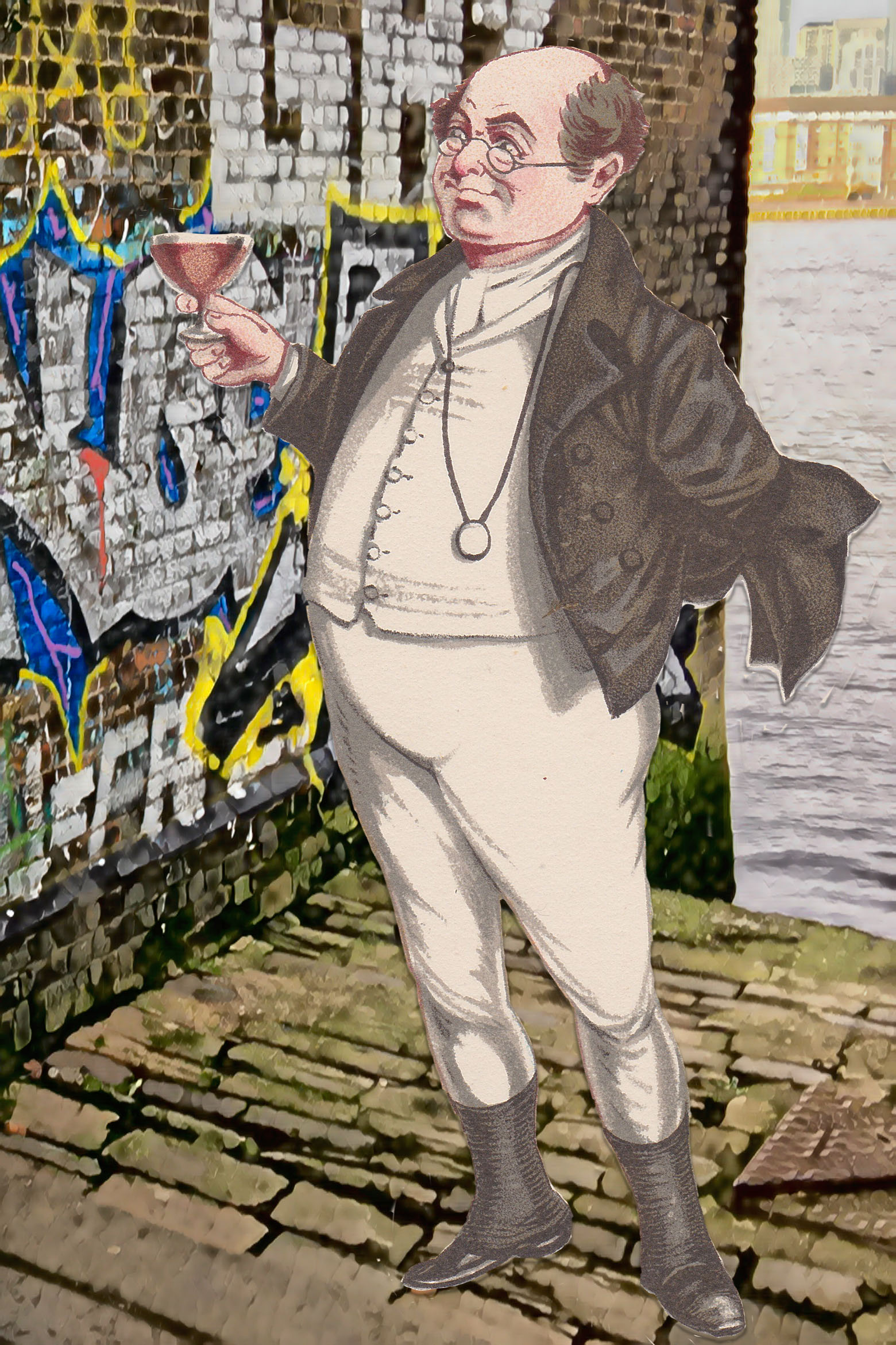 "Joseph Clayton Clark's (aka Kyd) illustration of Mr. Pickwick (c.1900) from Charles Dickens's ""The Pickwick Papers"" lifts a glass while admiring graffiti next to the Watergate Street stairs down to the Thames"