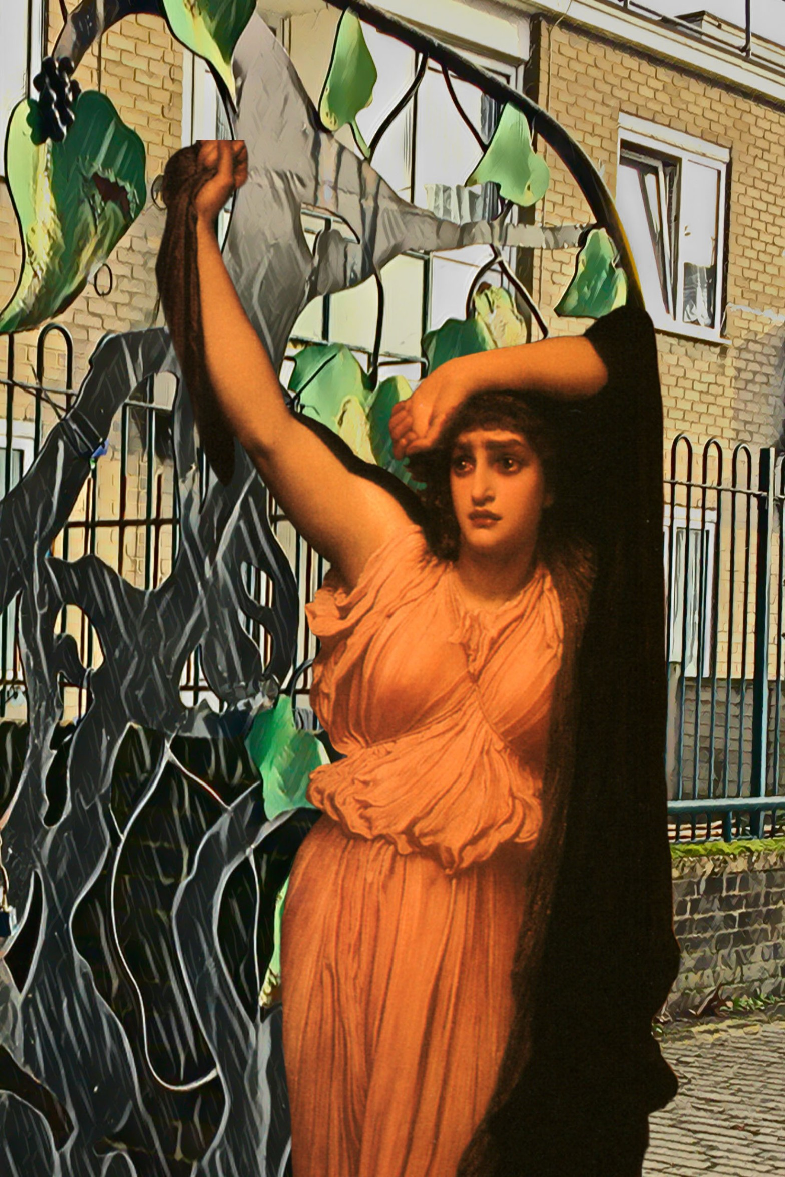 "Figure from Frederic Leighton's ""The Last Watch of Hero"" (1880) at the entrance gate to Sayes Court Park, Deptford, London"
