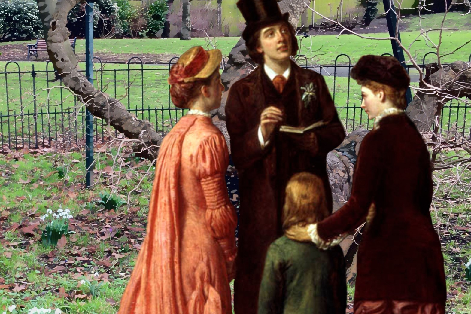 "Oscar Wilde and three other figures from William Powell Frith's ""A Private View at the Royal Academy, 1881"" (1883) visit Sayes Court Park, Deptford"