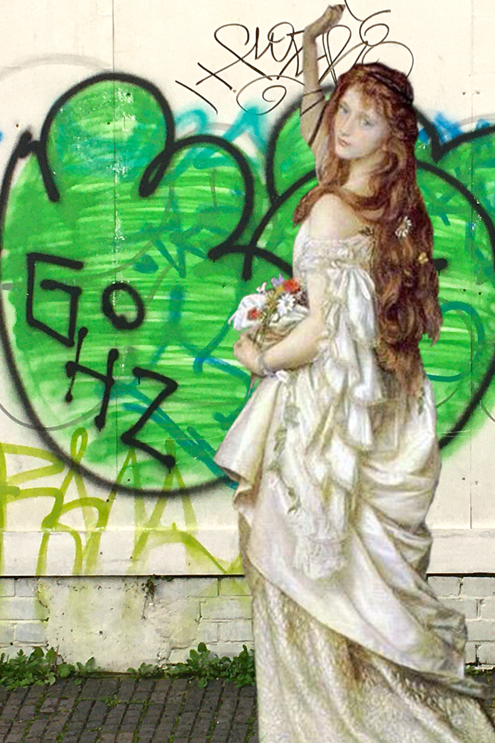 """Arthur Hughes's """"Ophelia"""" (Second Version) (c. 1865) and some tagging on the Convoy's Wharf hoardings on Prince Street, Deptford"""
