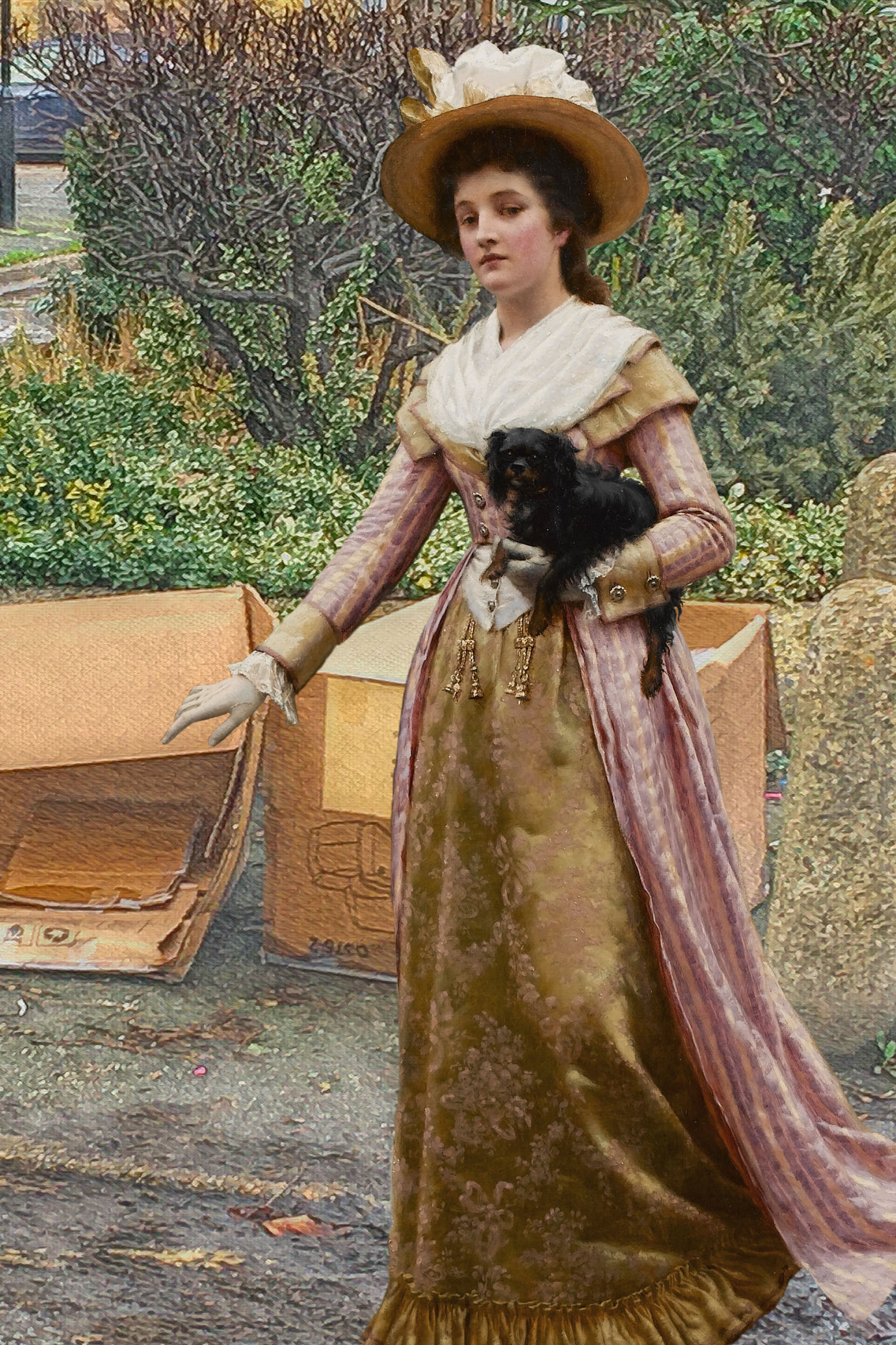 "Woman holding a dog from Edmund Blair Leighton's ""My Next Door Neighbour"" (1894) walks past the recycling bins on Grove Street in Deptford"