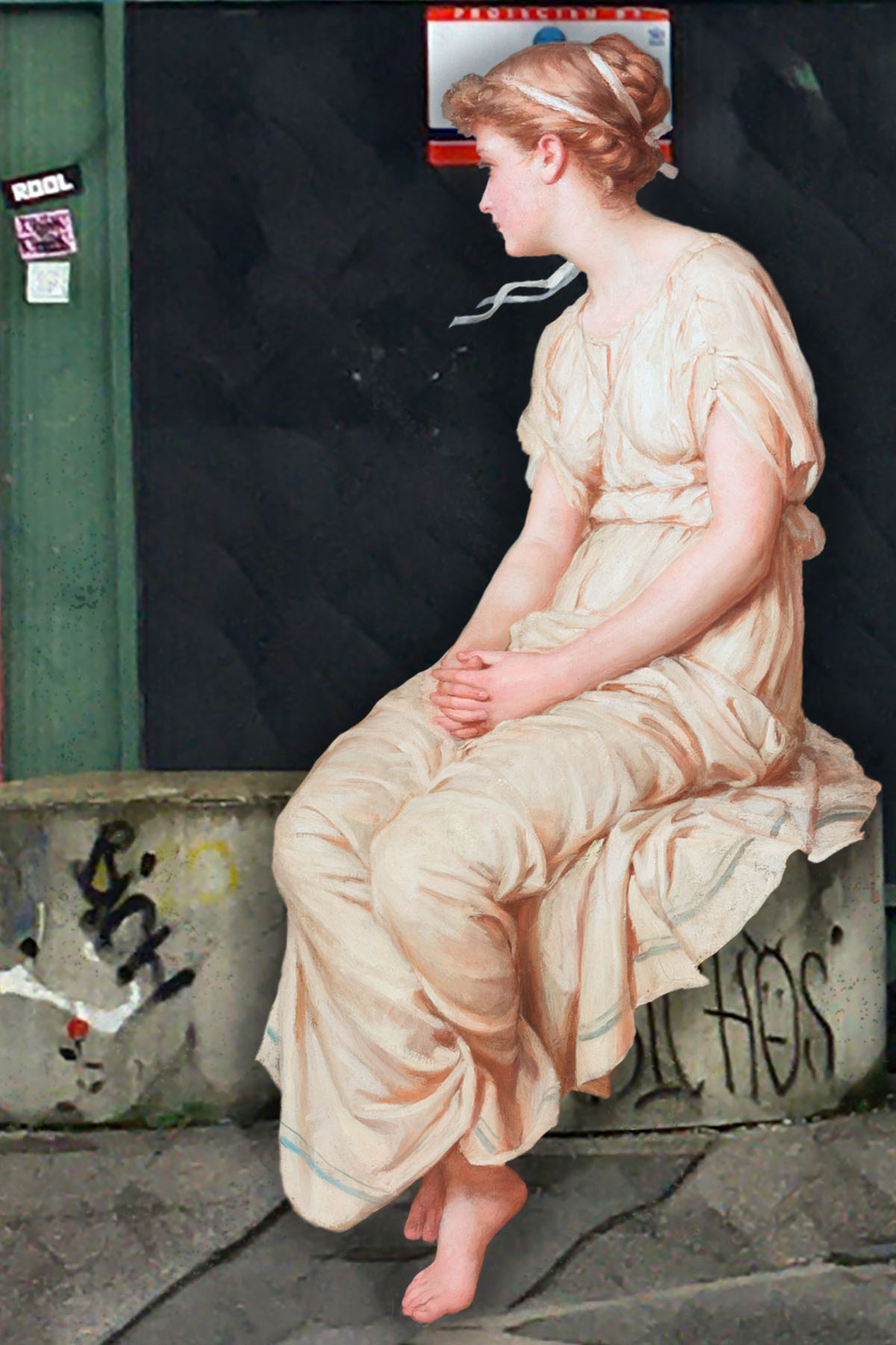 "John William Waterhouse's ""Miranda"" (1875) sits outside the Grove Street entrance to the former Royal Naval Yard (now Convoy's Wharf)"