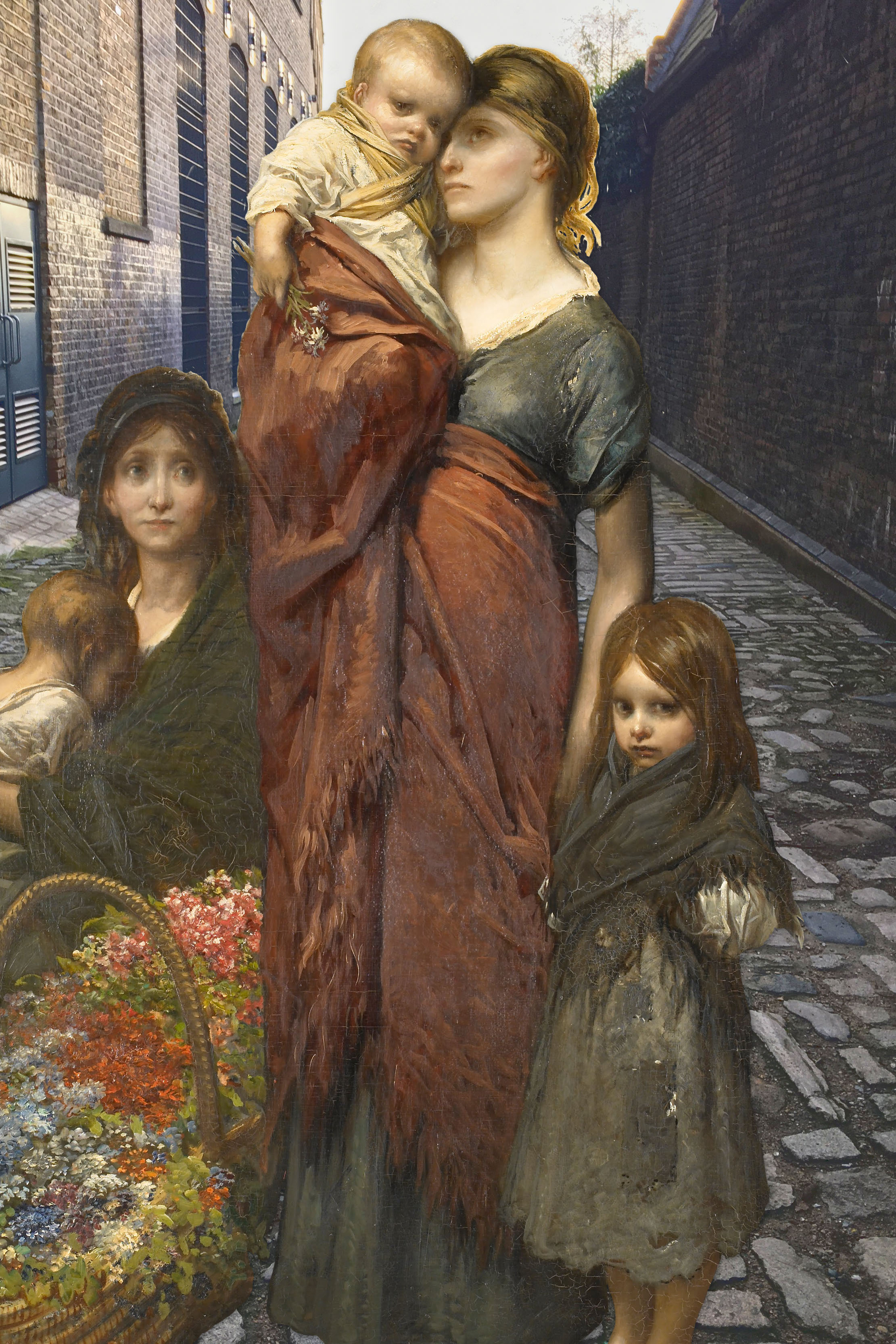"Gustave Doré's ""Flower Sellers of London"" (1875) in Watergate Street, Deptford"