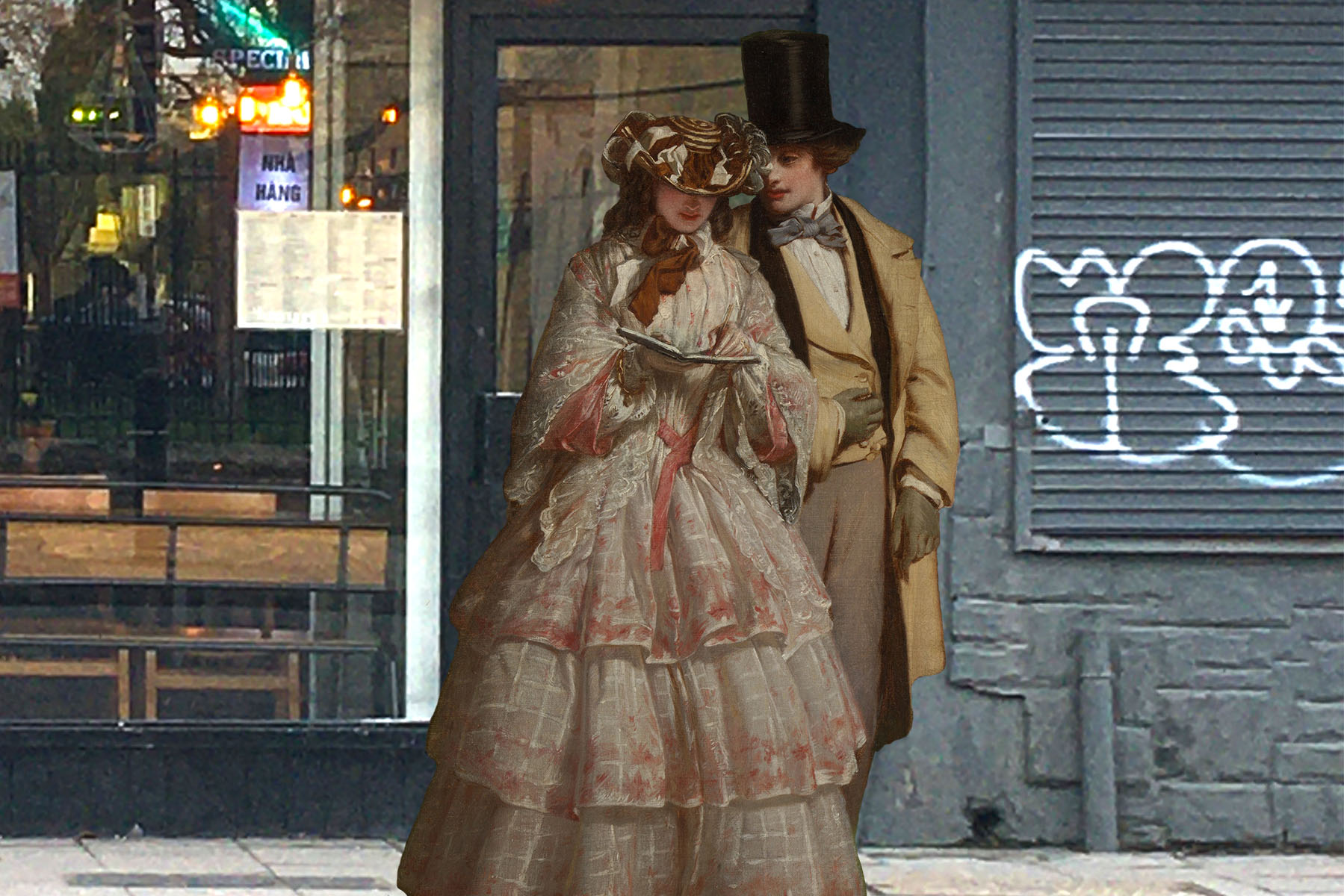 """William Powell Frith's """"The Two Main Figures from 'The Derby Day'"""" (1860) in front of Eat Vietnam bar-b-grill on Evelyn Street, Deptford"""