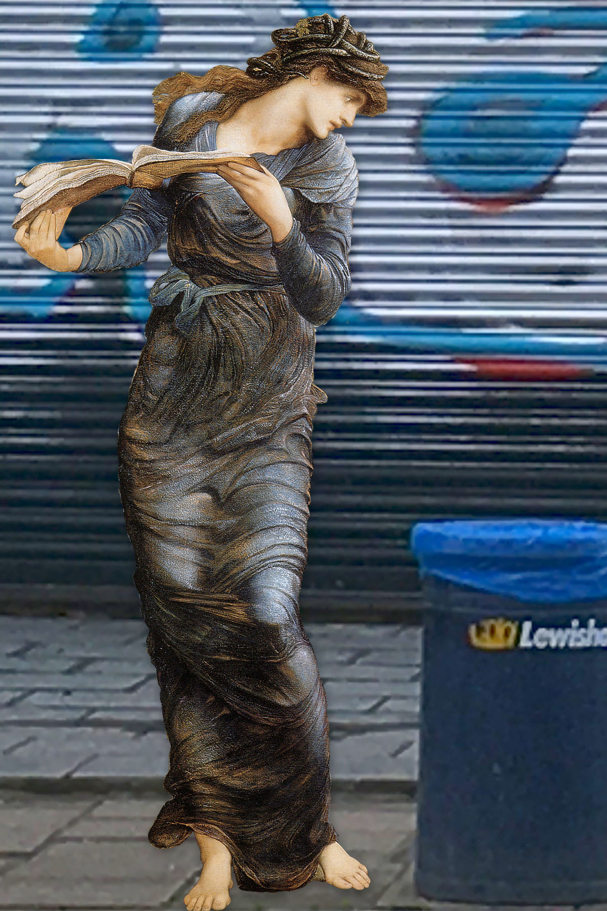"Nimue from Edward Burne-Jones's ""The Beguiling of Merlin"" (1872–1877) in front of Mr. Potatoes on Evelyn Street, Deptford"