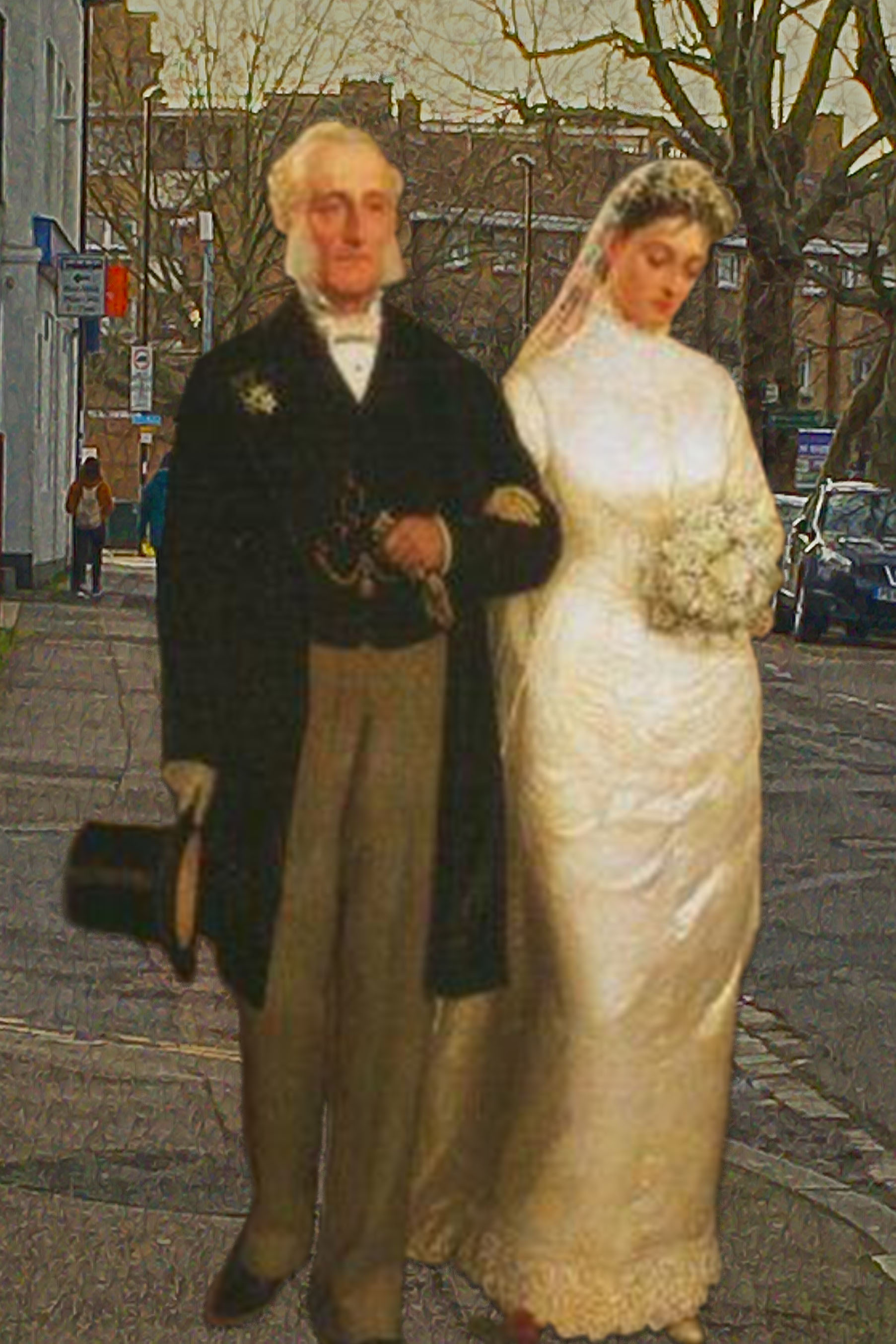 """Figures from Edmund Leighton's """"Till Death Do Us Part"""" (1878) take a pandemic walk along Prince Street, Deptford"""