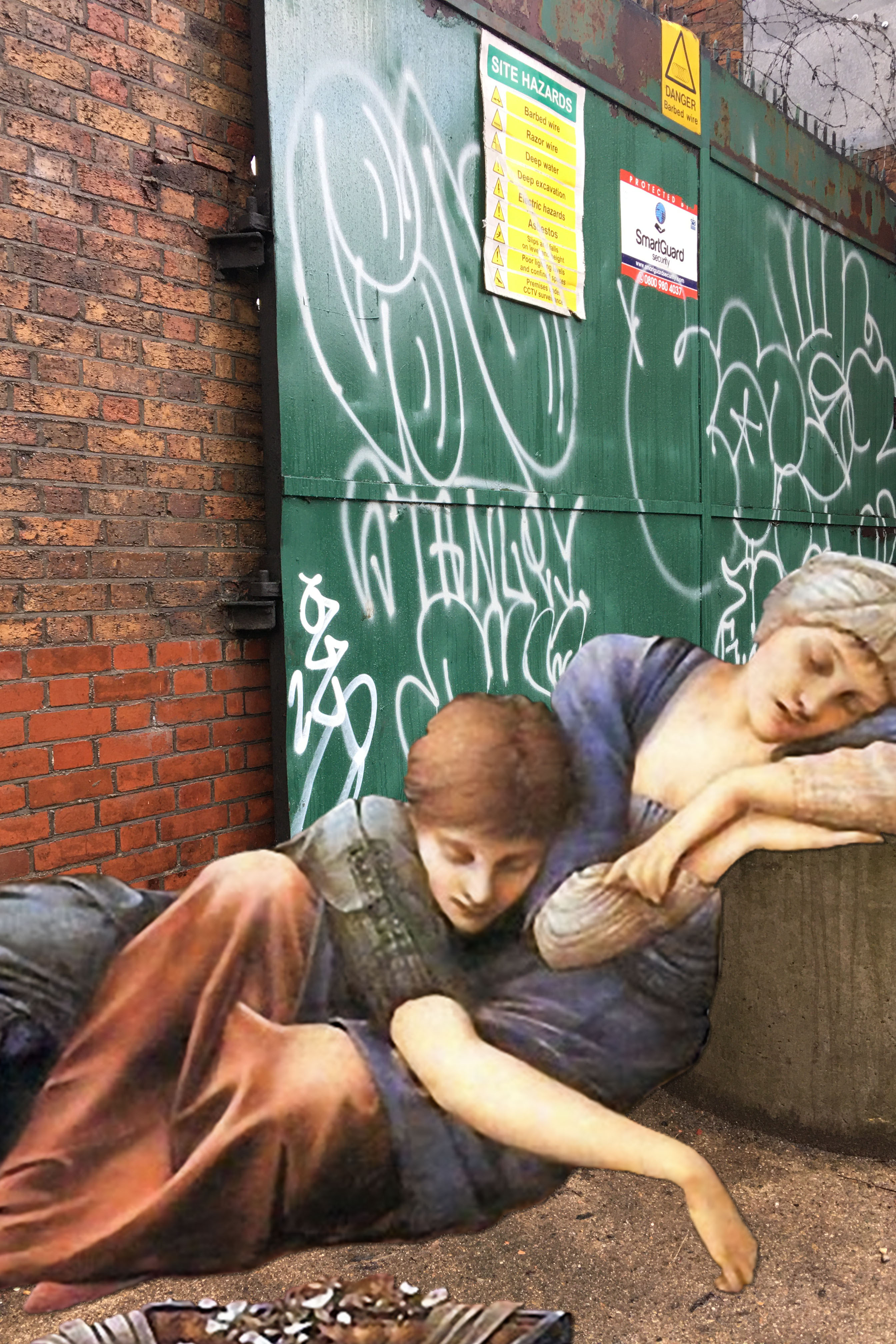 "Two figures from Edward Burne-Jones's ""The Rose Bower"" (Buscot Park Copy) (1890) sleeping on Watergate Street in Deptford"