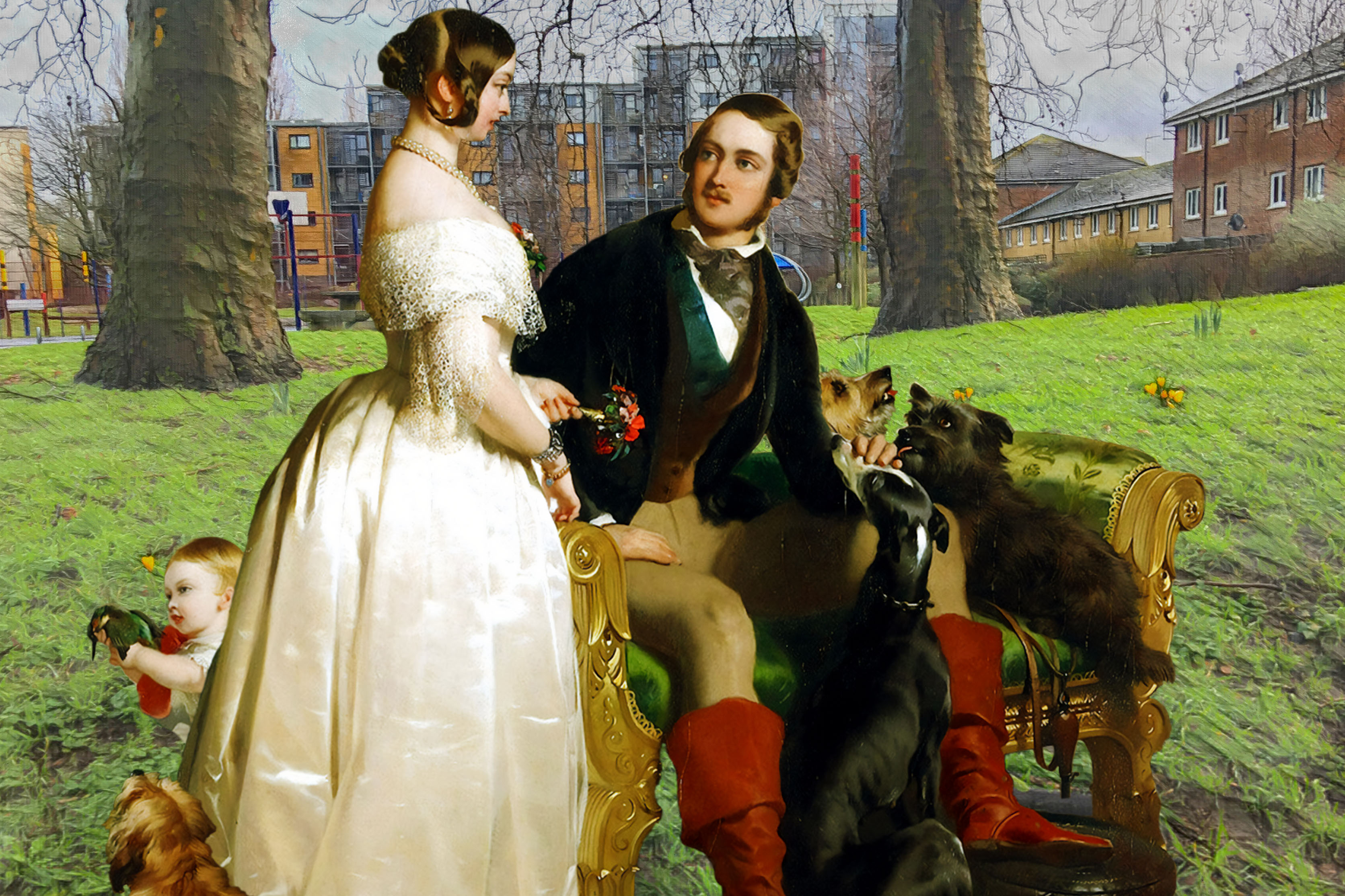 "Celebrating my 300th pandemic Twitter post with Queen Victoria and Albert from Edwin Landseer's ""Windsor Castle in Modern Times"" (c.1842) in Pepys Park, Deptford"