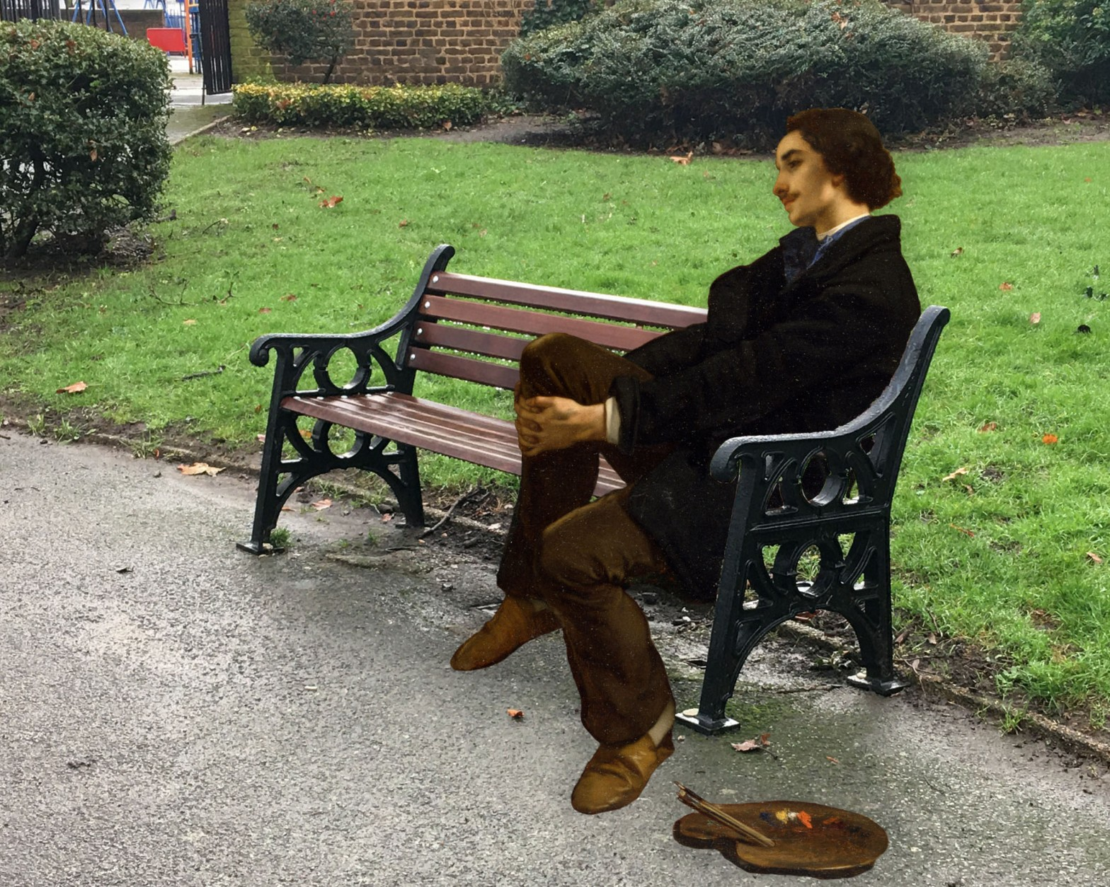 "Figure from Alfred Stevens's ""The Painter and His Model"" (1855) on a bench in Sayes Court Park, Deptford"